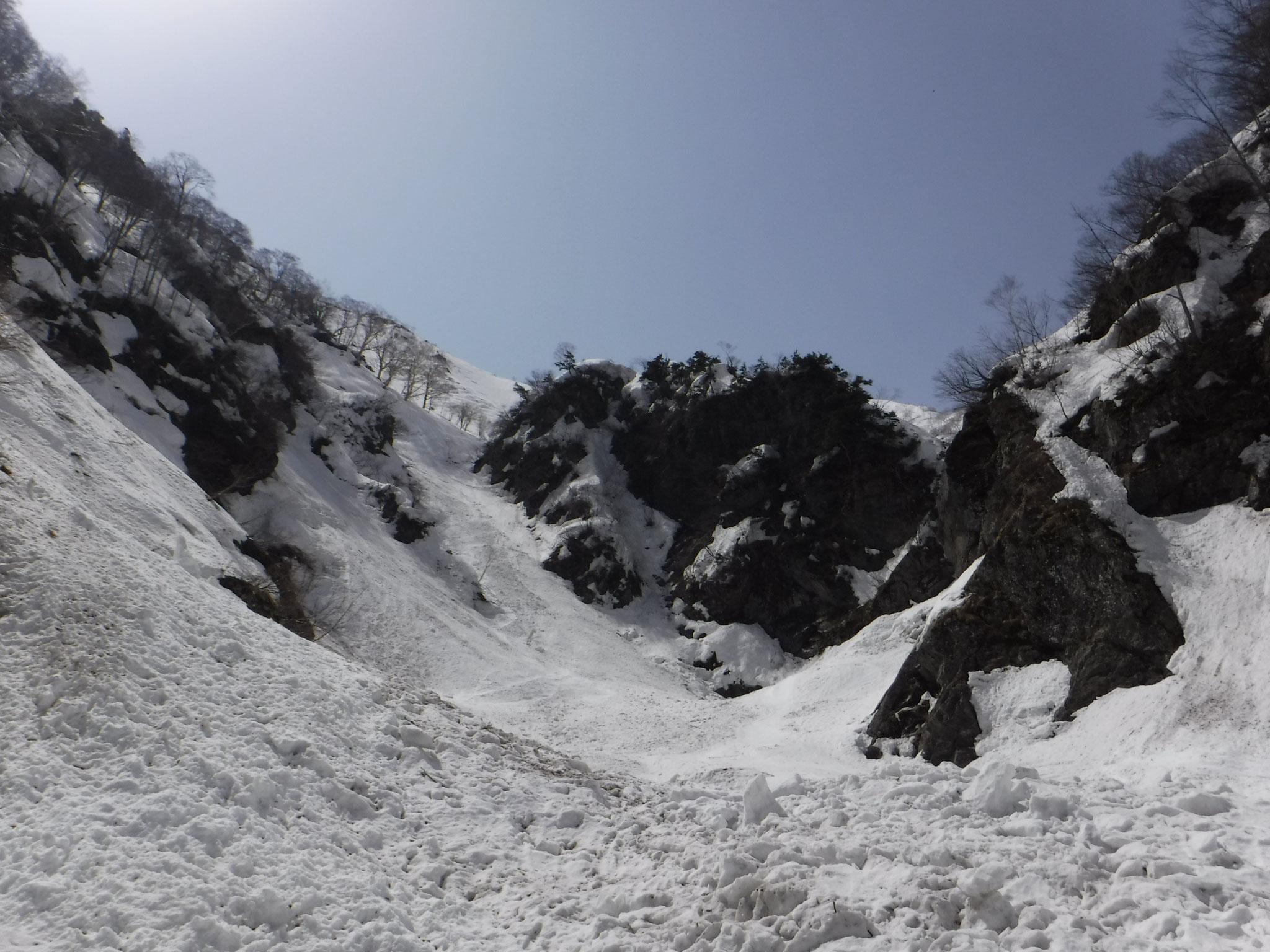 南滝付近。巻く場合は、左手の斜面から下るらしい。今回は右から
