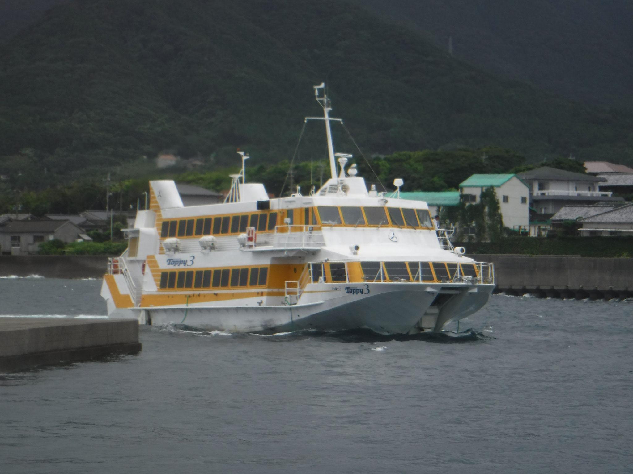 鹿児島からの高速船、シートベルト着用