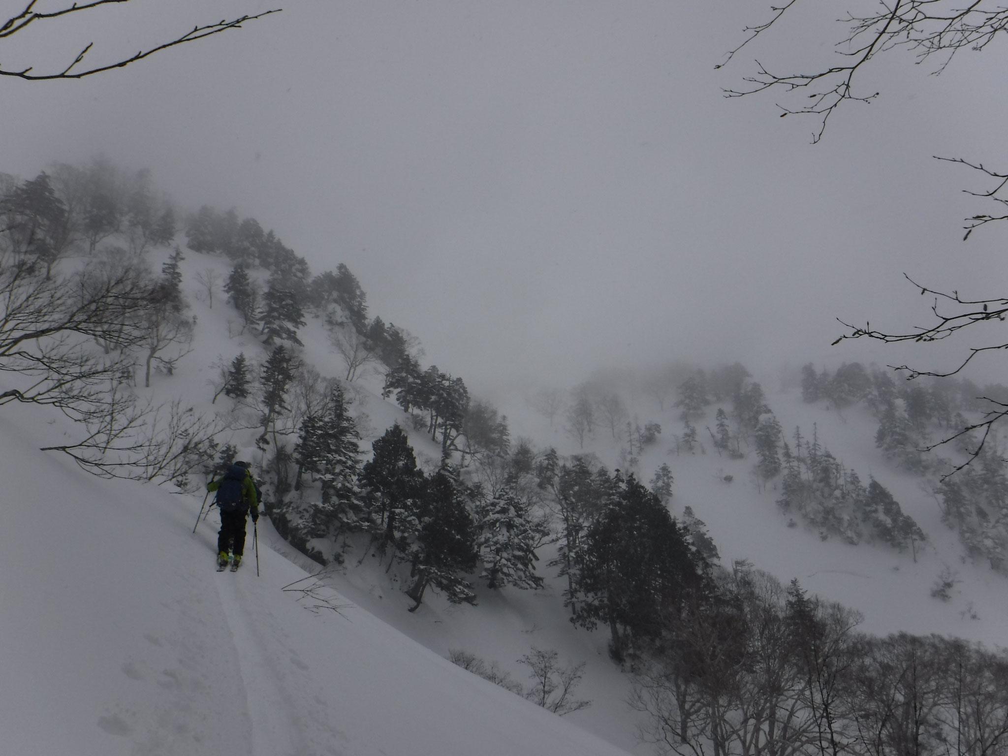 2/2 11:30 強風の稜線から下降点へ