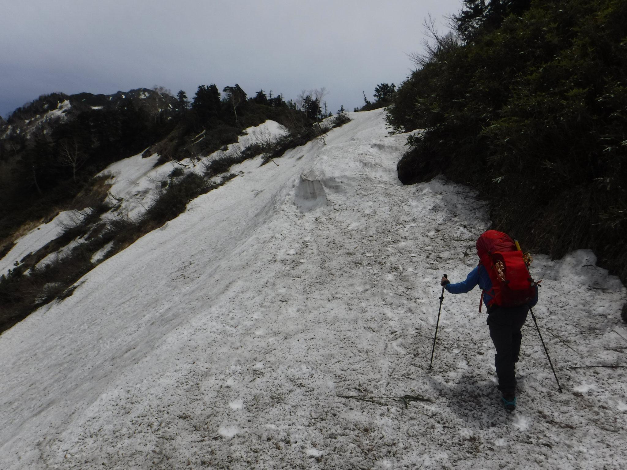 6/5 12:20 標高1900m付近 雪が連続し始める