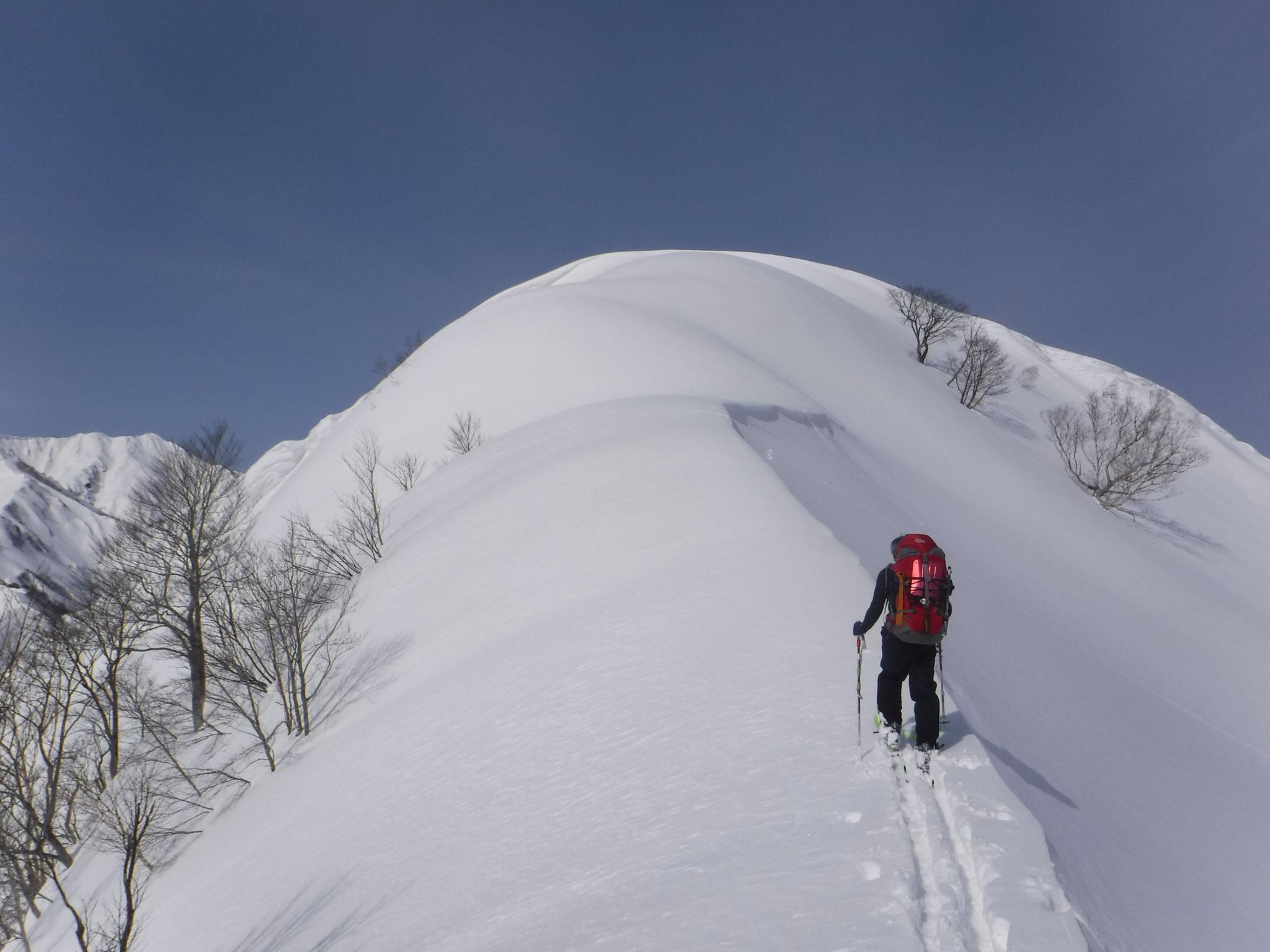 容雅山、山頂東側の雪稜 10:00