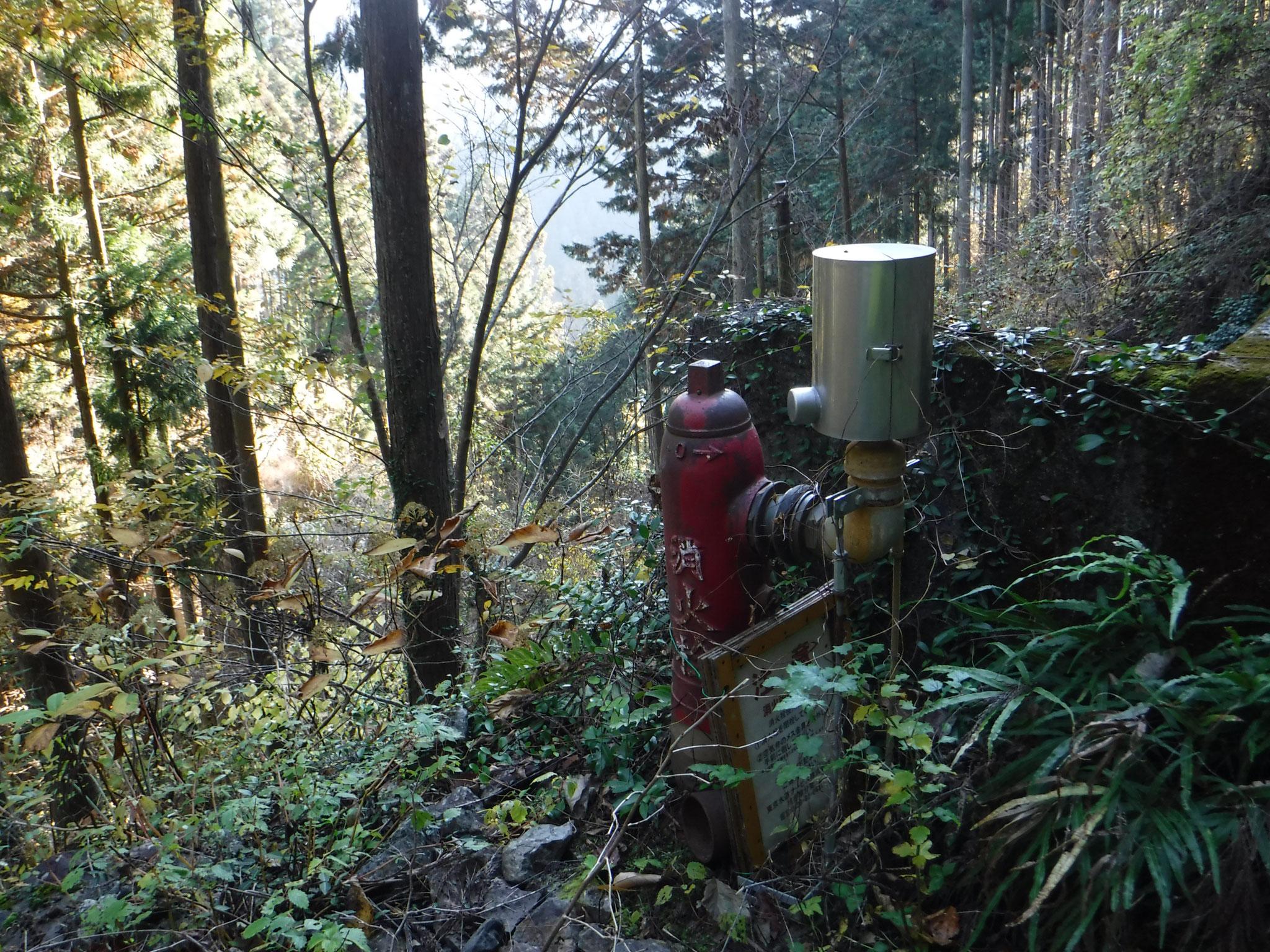 山中、所々にある。ここに送水管を埋設するのは大変な作業。