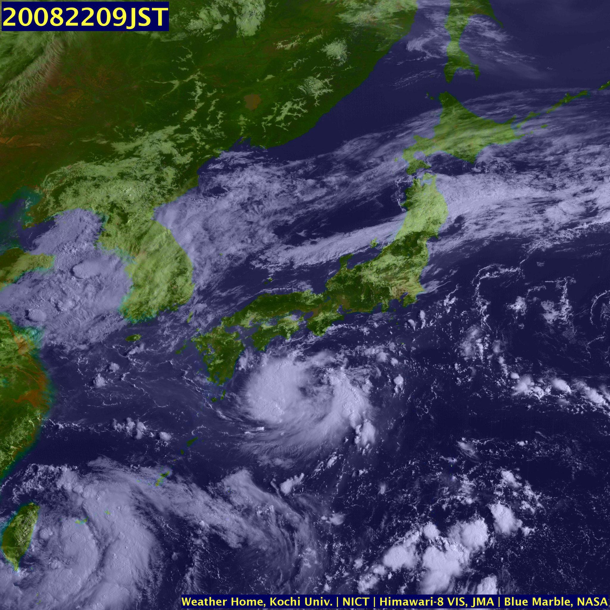 高知大学HPより 8/22 9時 関東地方は薄い雲が広がっている