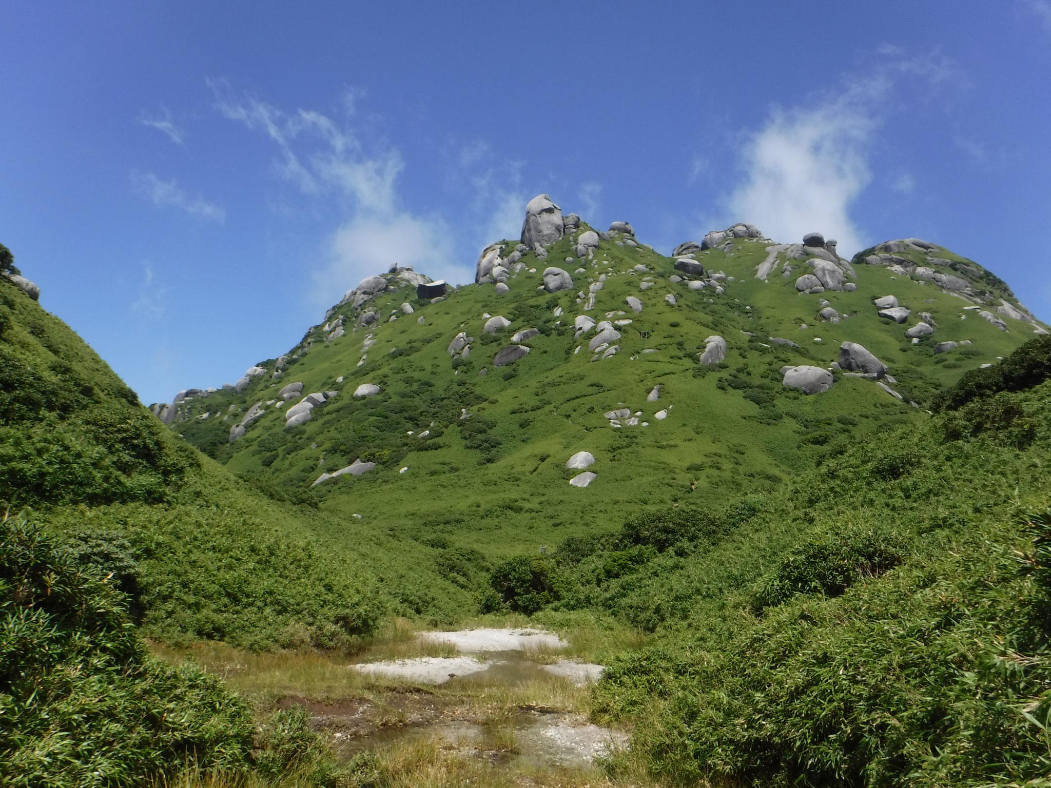 水場から望む永田岳
