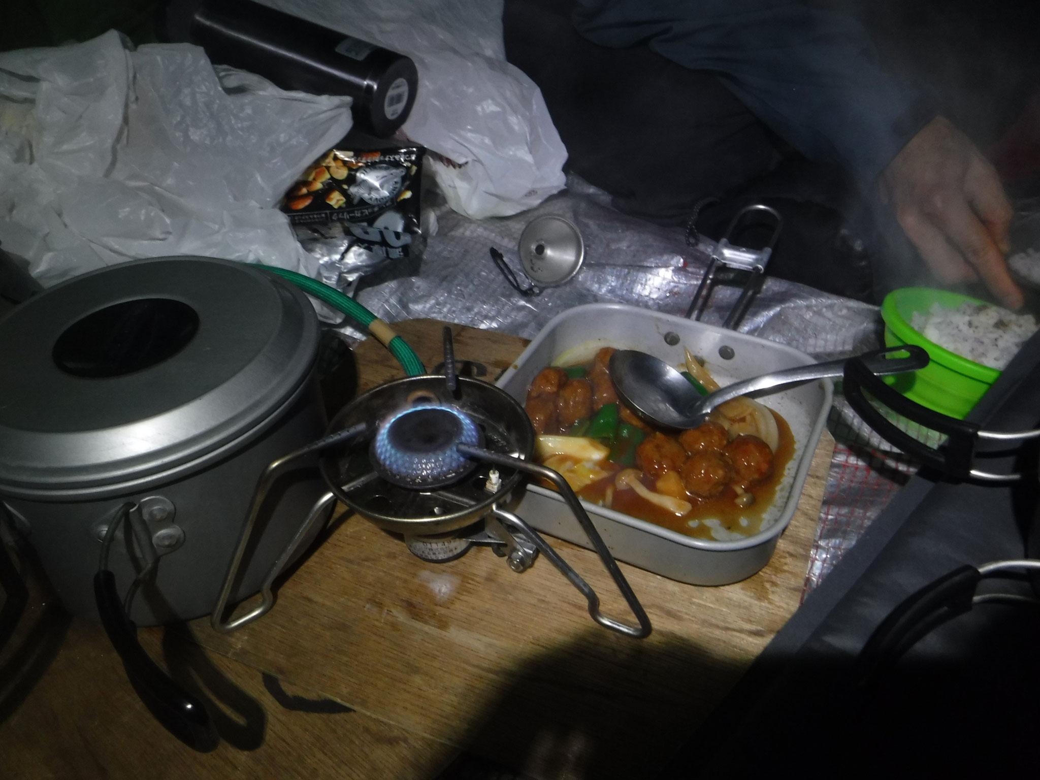 甘酢あん肉団子、野菜炒め
