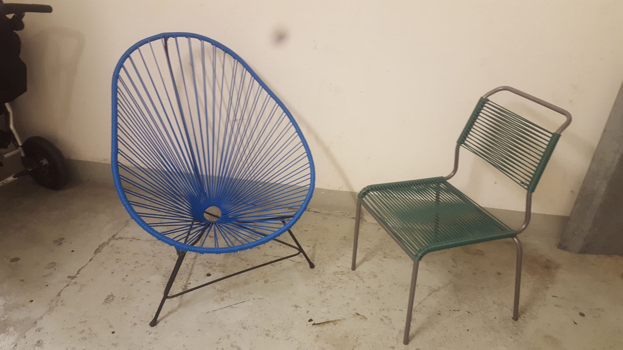 Acapulco Stuhl und Spaghetti Stuhl neu bespannt