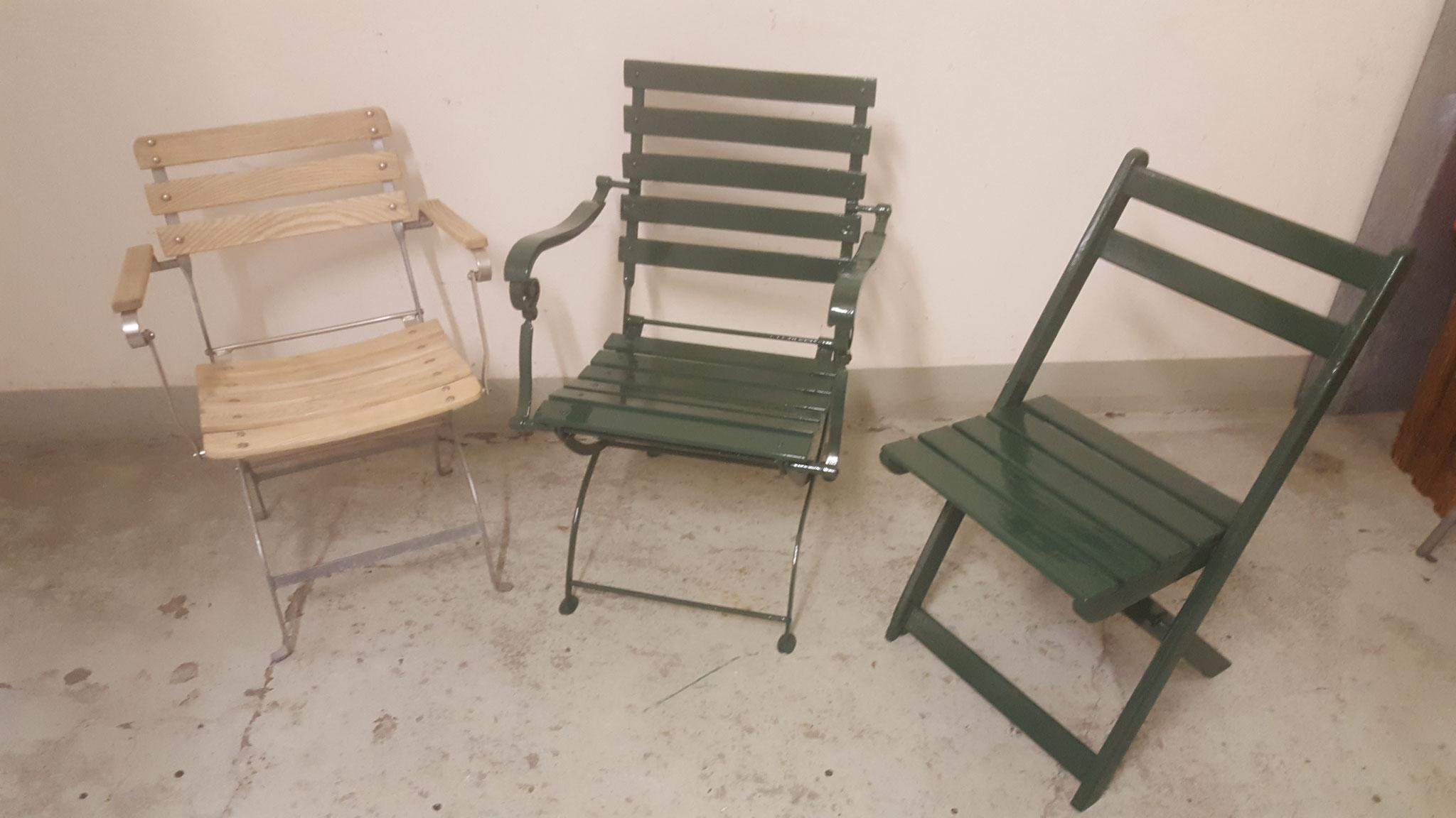 Gartenstühle abgelaugt und neue Oberflächenbehandlung