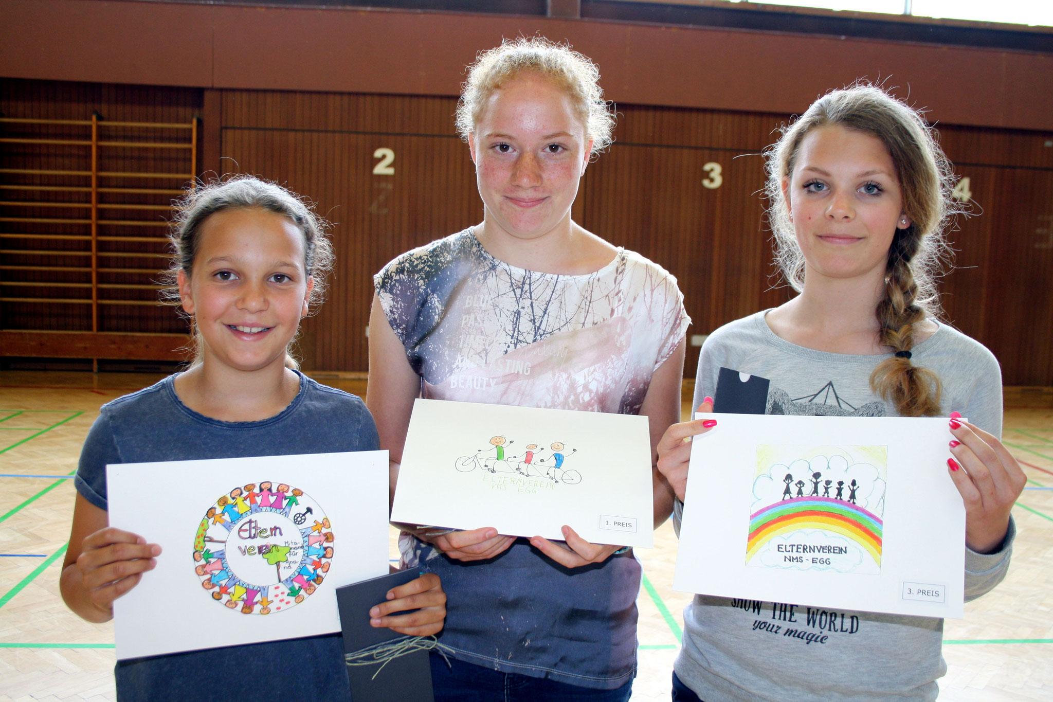 v.l. 2. Platz Anna Urach, 1. Platz Veronika Bär, 3. Platz Yasmin Brandini