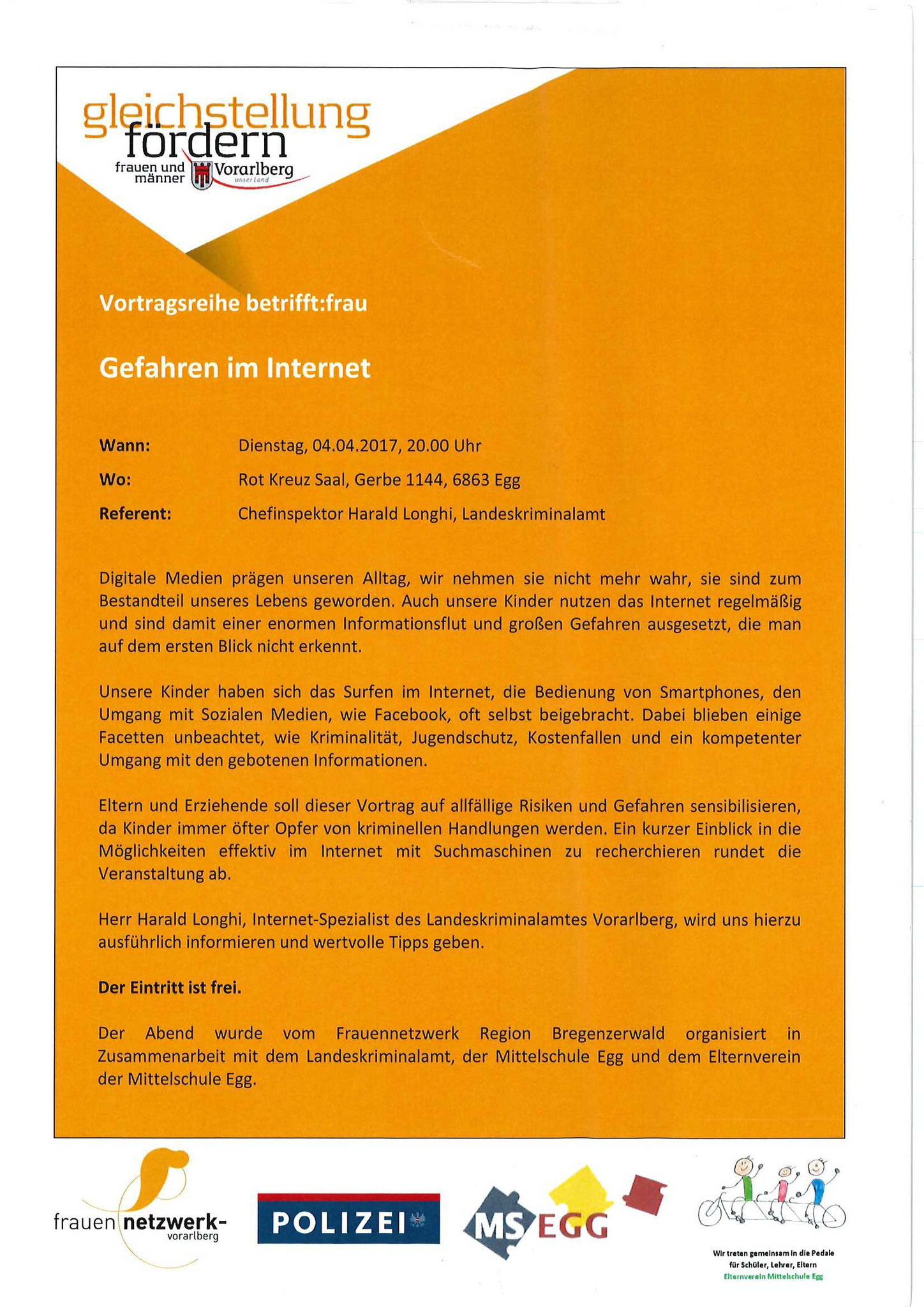 """Vortrag Landeskriminalamt/Harald Longhi - """"Gefahren im Internet"""" -in Zusammenarbeit mit dem Frauennetzwerk Bregenzerwald 4.4.17"""