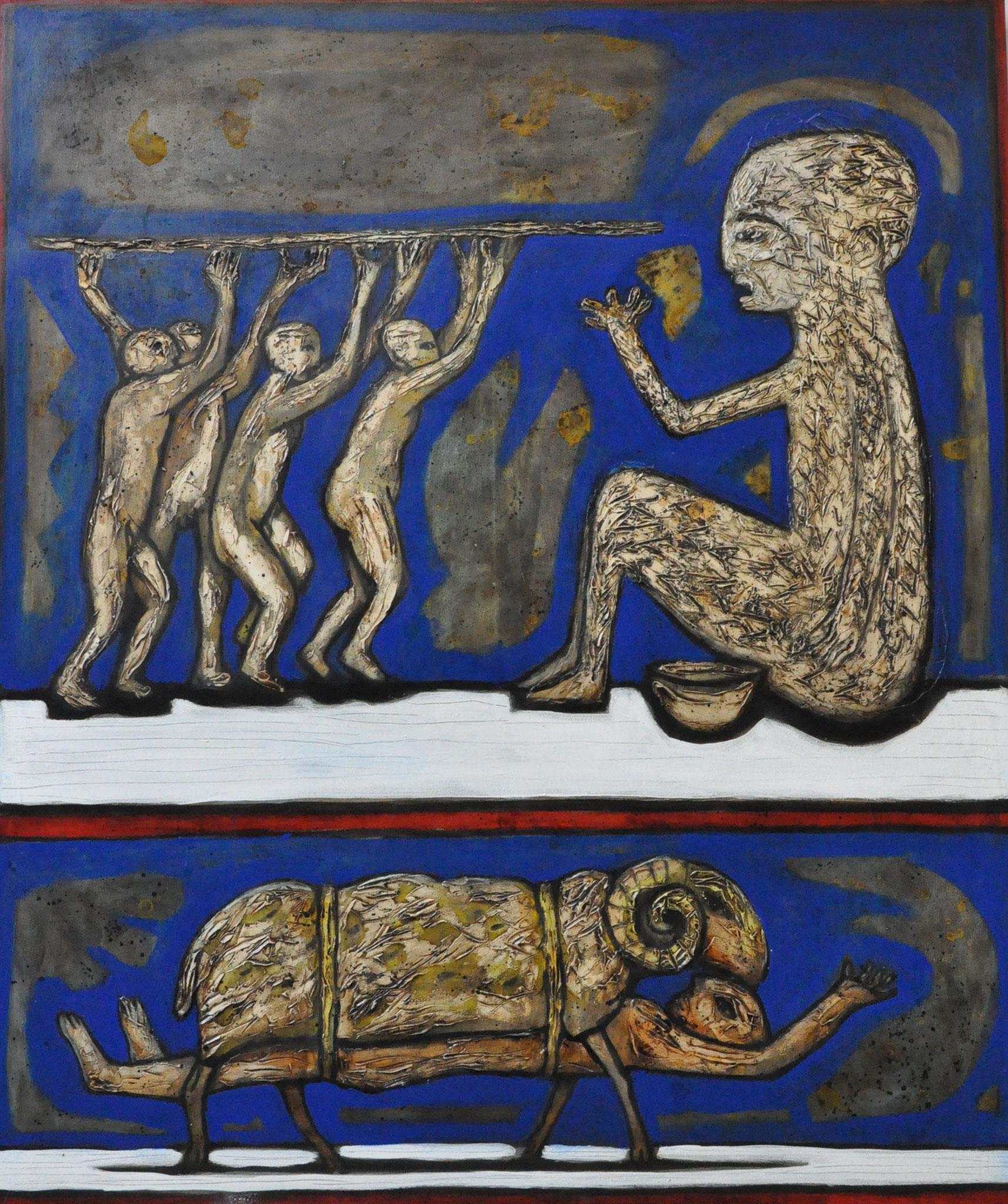 Polyphem und Odysseus, 160 x 200 cm, 2016