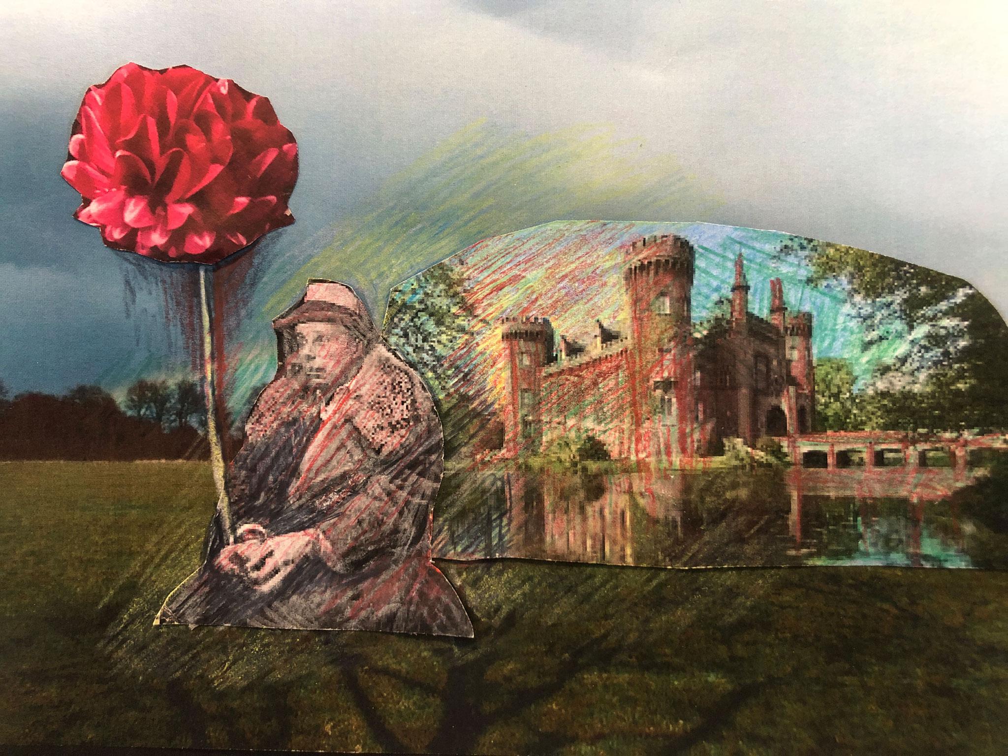 """The spirit of Beuys cares of the dahlia breeding for Lintvelde"", 14,85 cm x 10,5 cm, 2021"