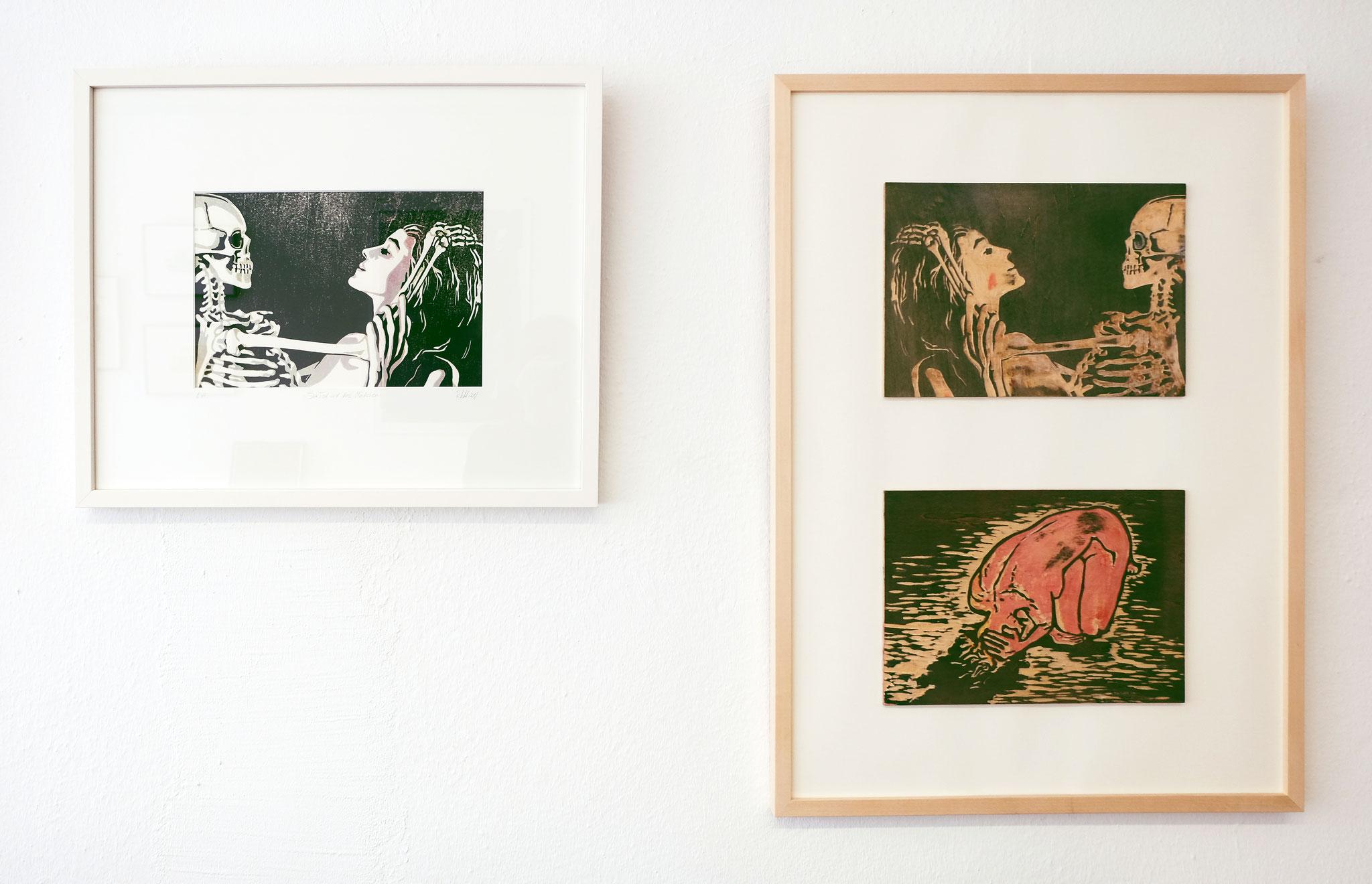Im Atelier / Druckstock vs. Holzschnitt