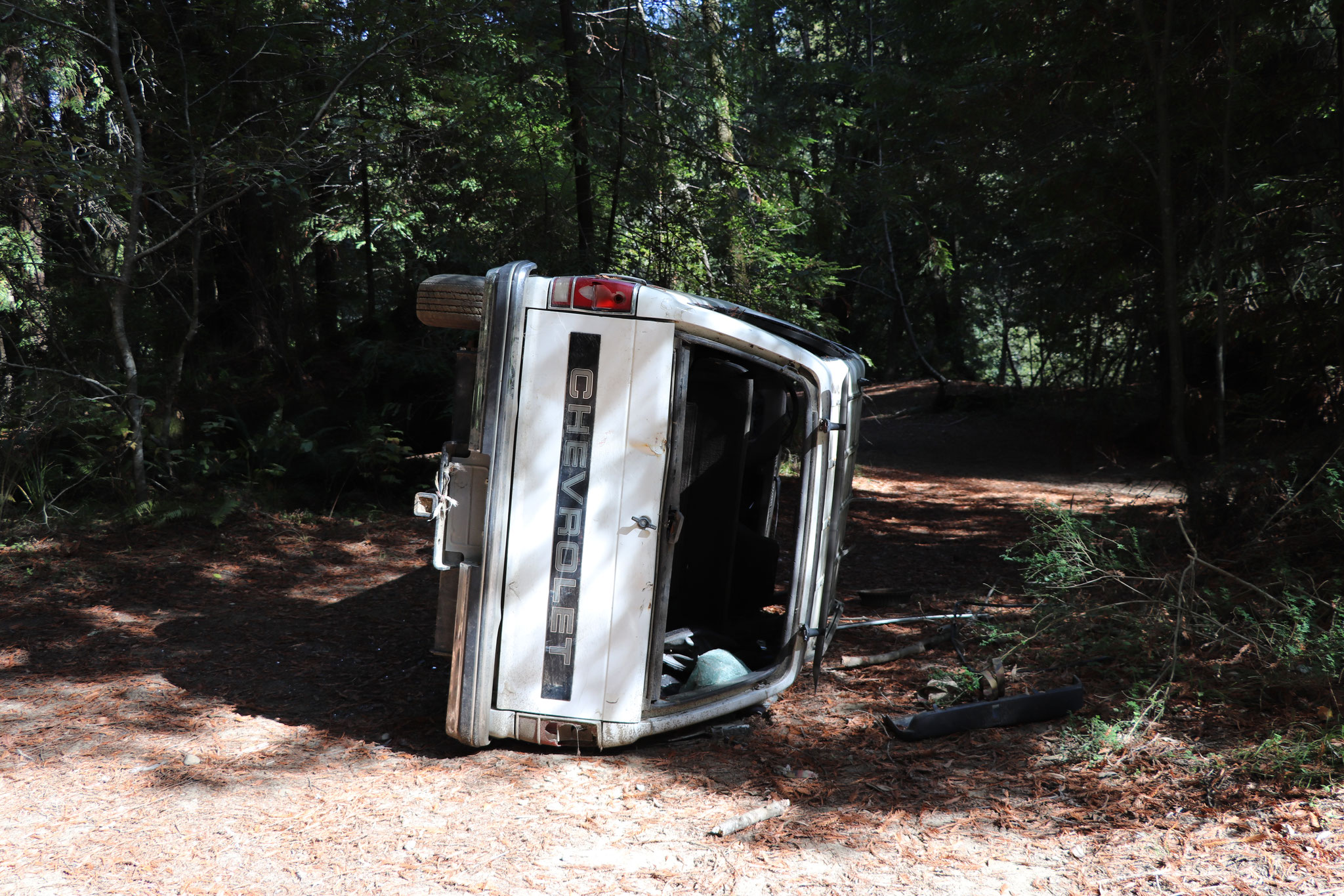 Some guy capsized his truck in the forest and just left it their