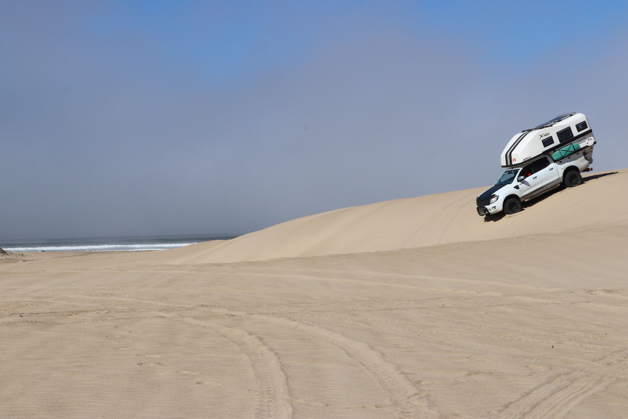...driving our camper truck up and over the dunes - good practice for Baja Beach's (MEX)