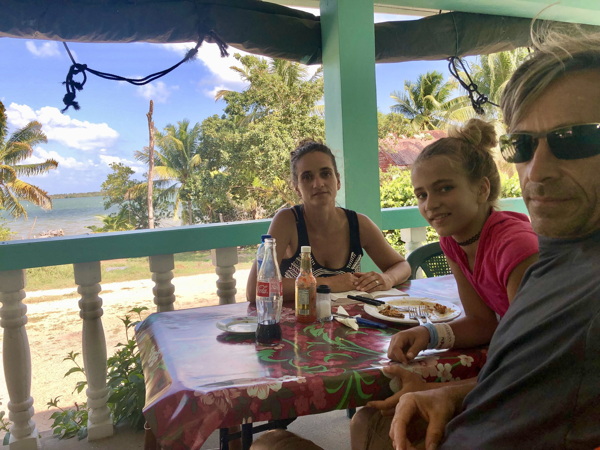 The local Restaurant was someones balcony. Two tables and a few chairs good enough to have our first Belizean lunch