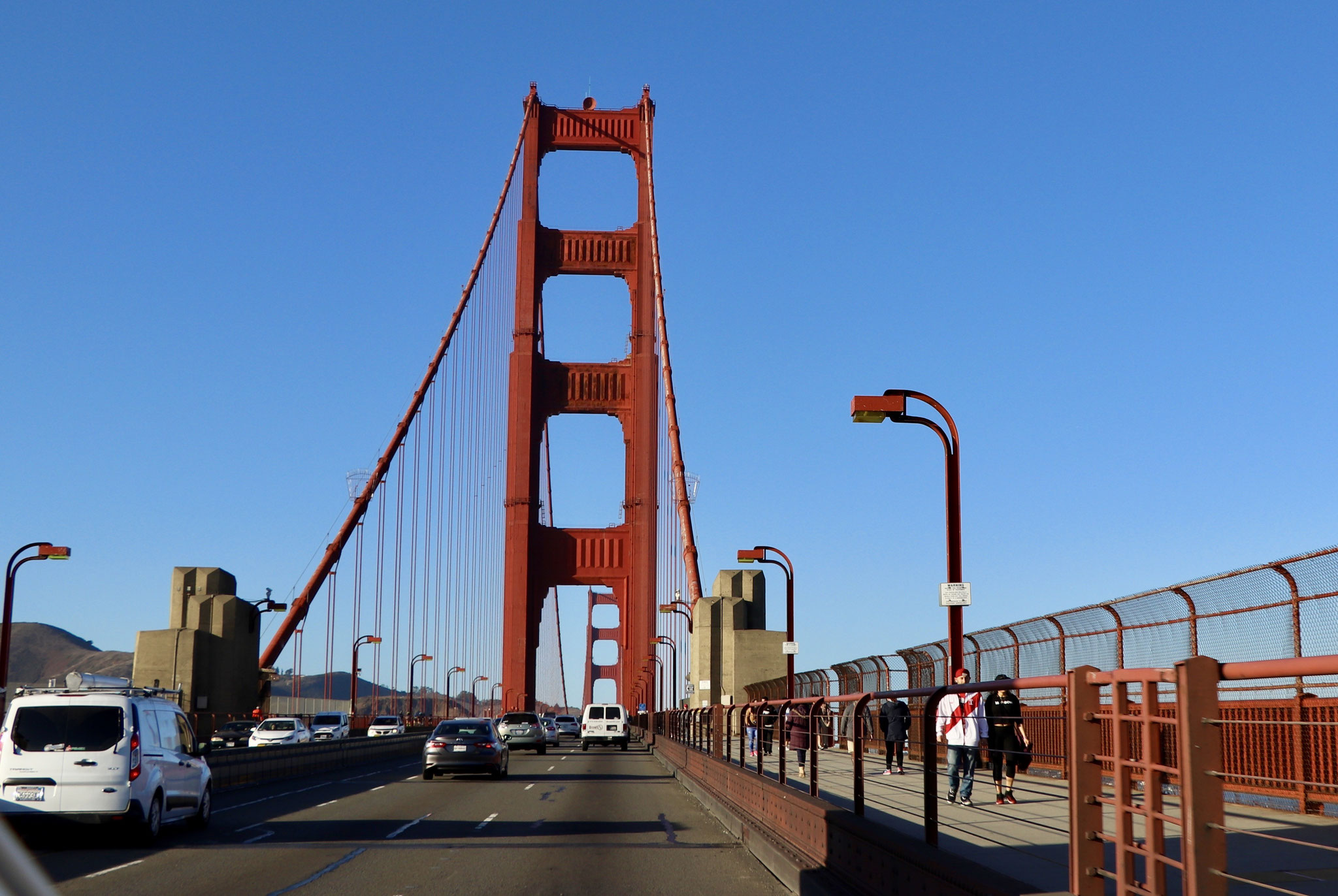 We are on the Golden Gate Bridge heading north up Highway 1