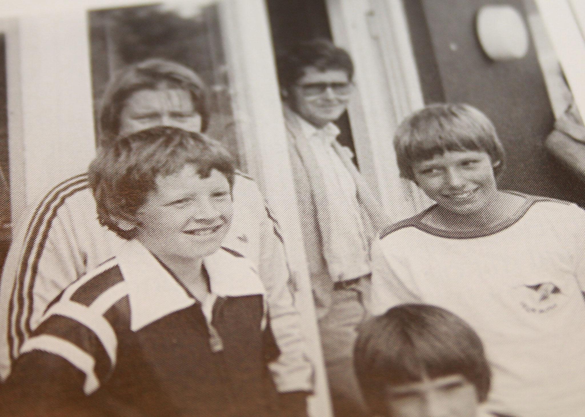 1980 Michael Stich beim TCW Bambino-Turnier. Die vier Halbfinalisten Olaf Bruns, Volker von Thun, Marcus Gellert und ganz rechts Michael Stich.