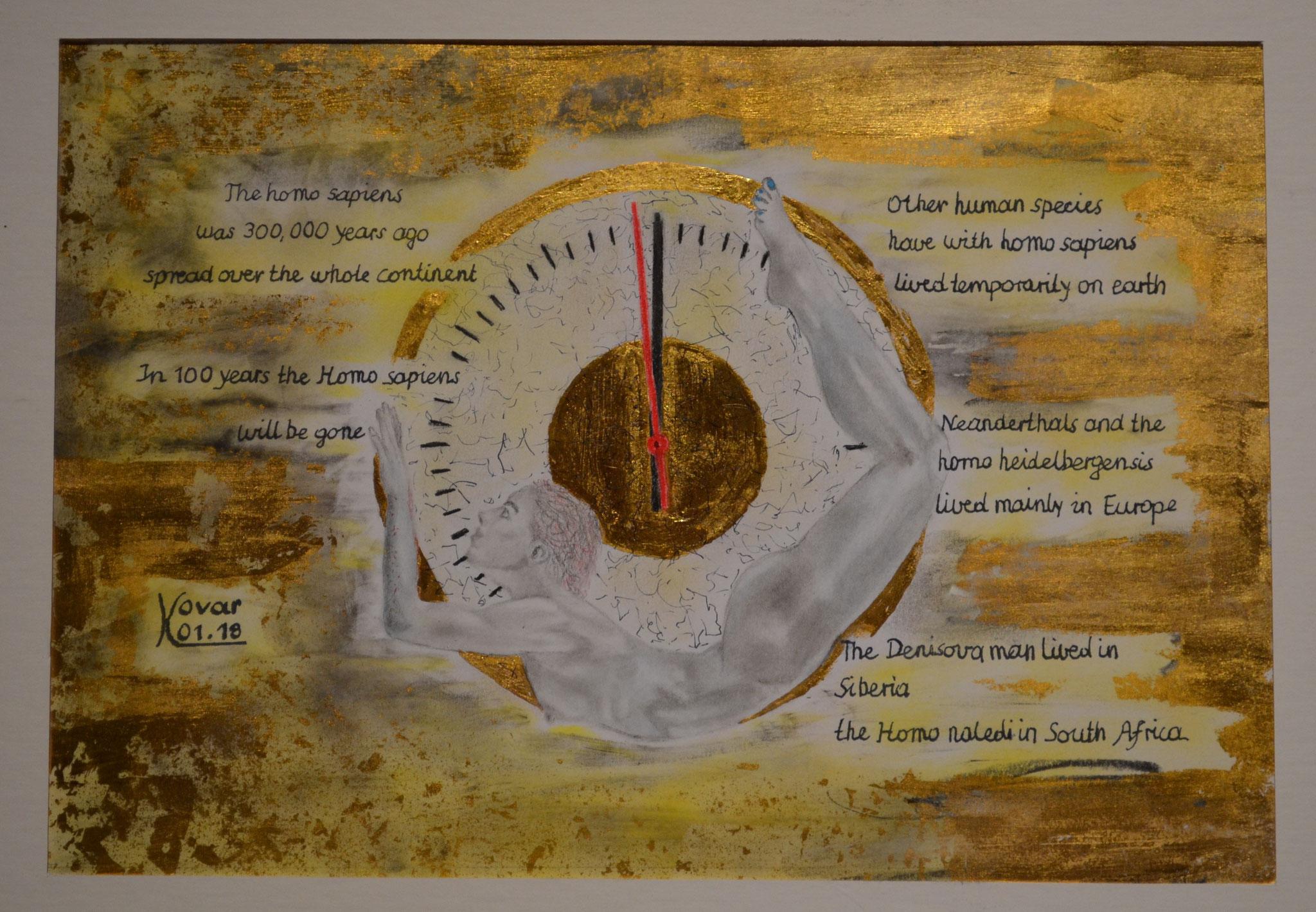 Scenario; Blattgold, Tusche und Pastell auf Papier, 48x38cm inkl. Rahmen. Gold leaf, ink and pastel on paper inkl. frame. 2018