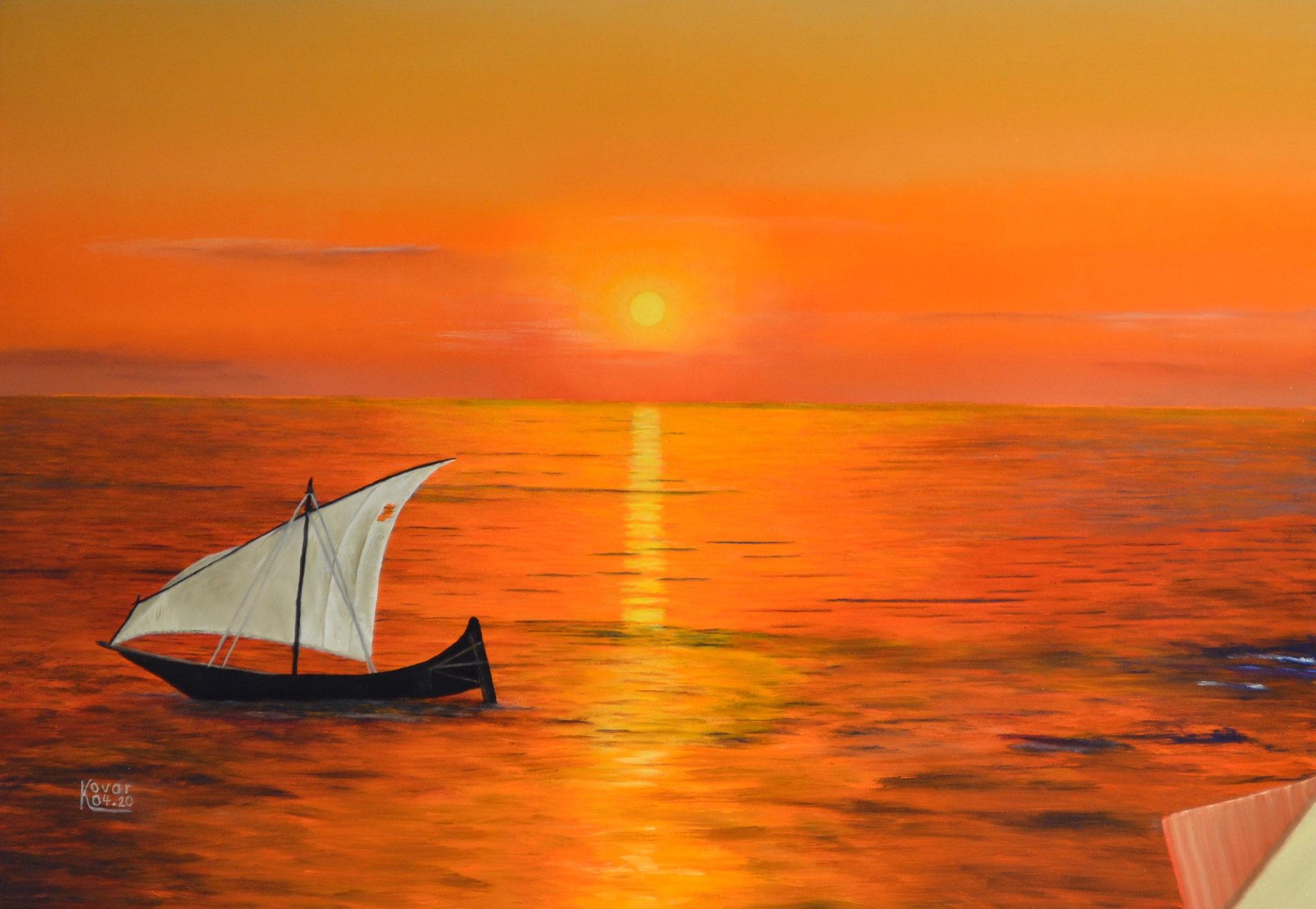 Arche Noah anno 2100 / Noah's Ark in 2100. Öl auf Leinwand 65 x 45 cm, 2020. Oil  on canvas.