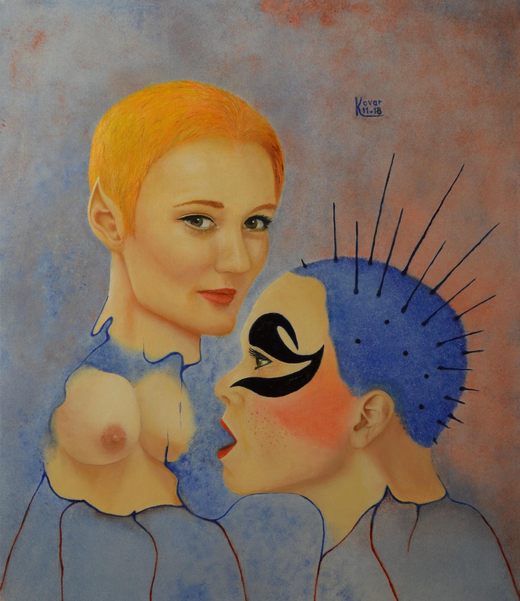 Illuminati; Öl auf Leinwand 40 x 46 cm, 2018. Oil on canvas.