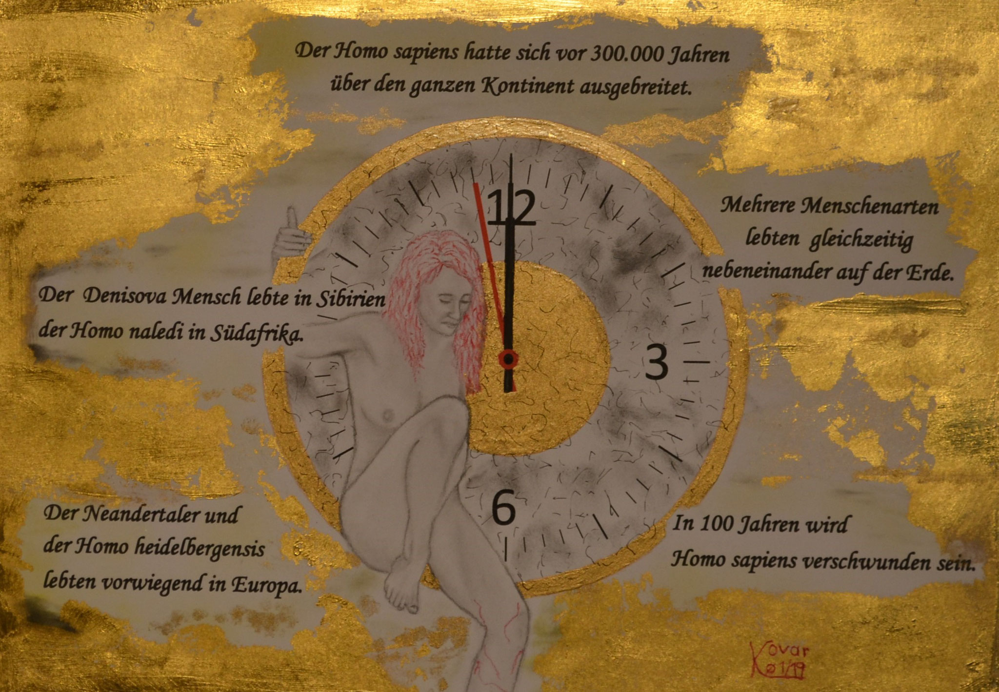 Szenario 2; Blattgold, Tusche und Pastell auf Papier, 48x38cm inkl. Rahmen. Gold leaf, ink and pastel on paper inkl. frame. 2019