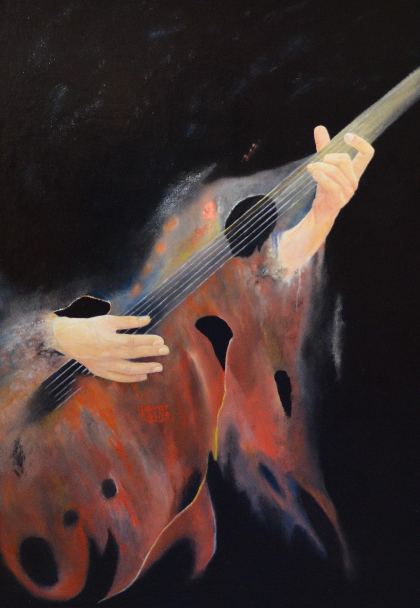 """Die Schwingungen der bespielten Gitarre werden im Bild """"Gitarrist"""" verdeutlicht. The vibrations of the recorded guitar are illustrated in the picture """"Guitarist""""."""