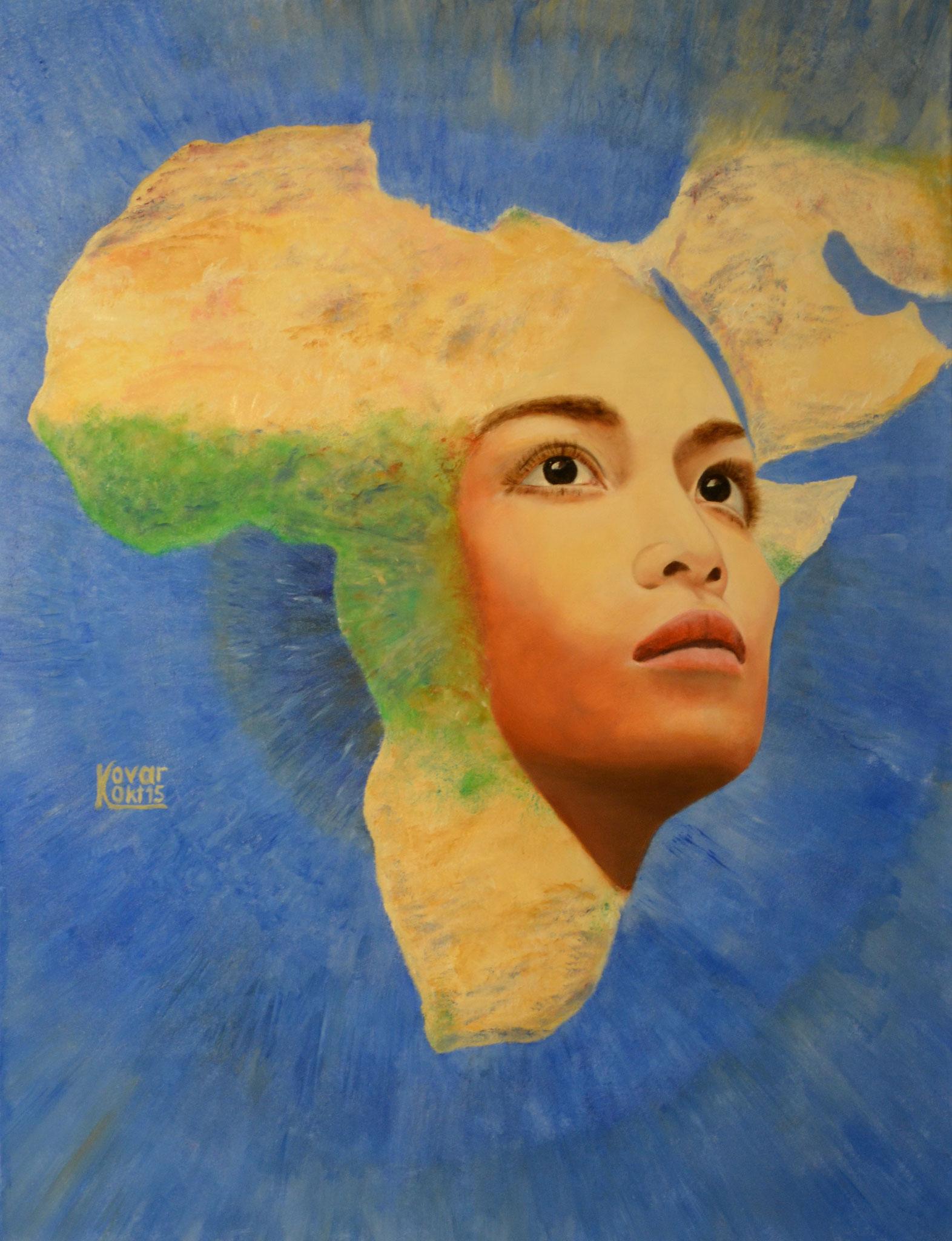 Die Frau in der Schönheit ihrer Formen und ihres Intellekts ist  in diesem Kunstwerk präsent. Das Frauenideal in die Fülle des afrikanischen Kontinents verwandelt der Künstler hier in eine einzigartige generative Vision.