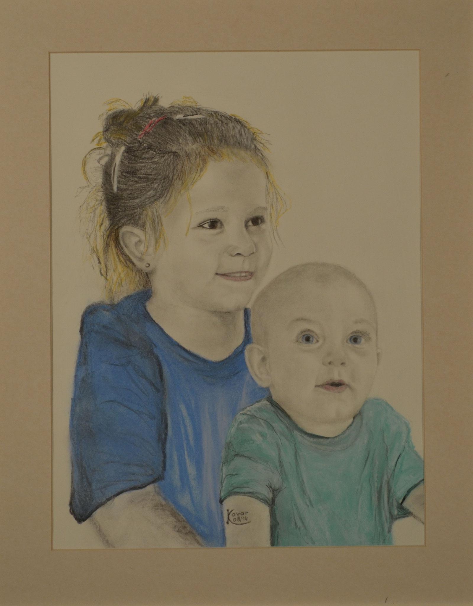 Selina und Jonas, Pastell und Kohle auf Papier, 30x40cm,