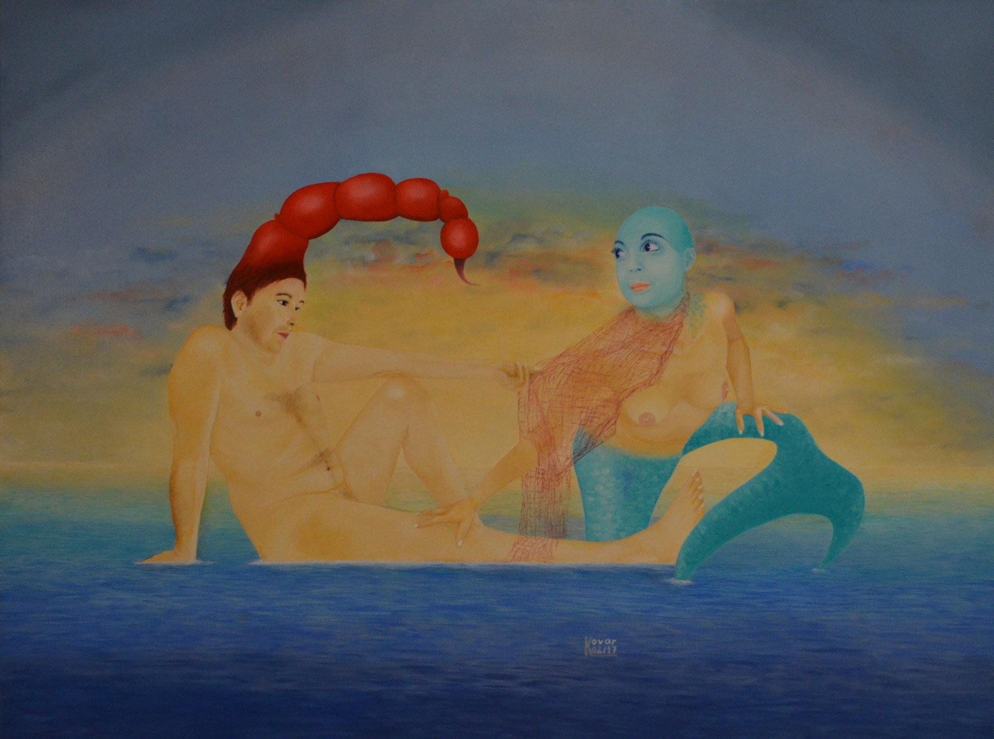 Sternzeichen - Skorpion & Fisch / Star  sign  - Scorpion & Fish, Öl auf Leinwand 120 x 90 cm, 2017.  Oil on Canvas.