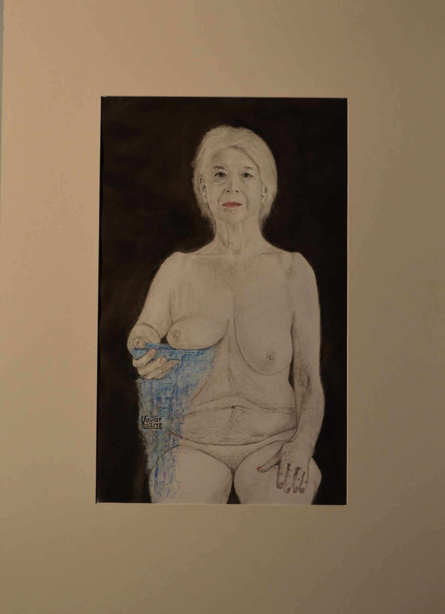 Schnittstelle:  Zeichenkohle und Pastell auf Papier,  52  x  72 cm, inkl. Rahmen.  Interface:  Charcoal and pastel on paper, inkluded Frames. 2018.