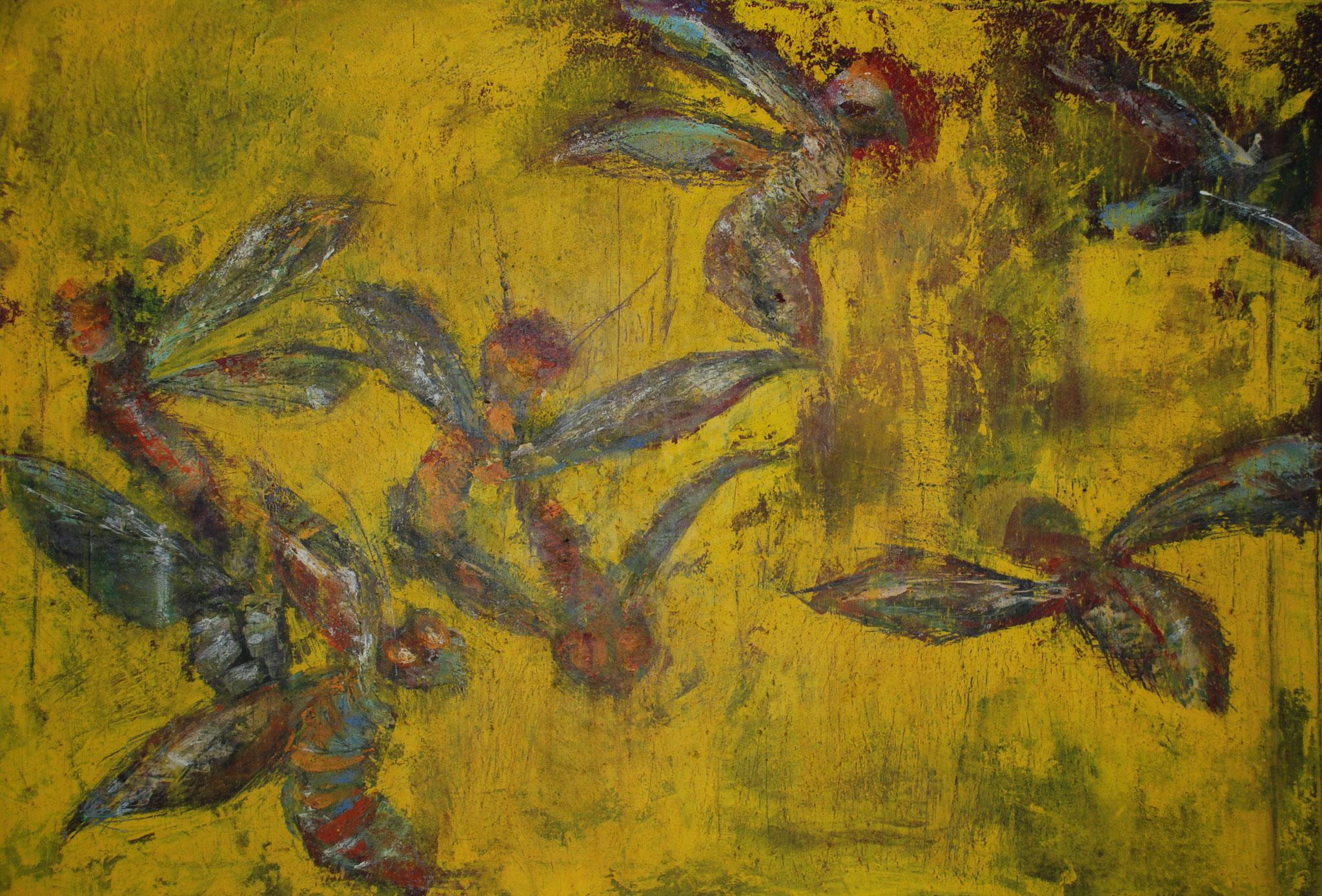 """""""Insekten 13"""",  Berit Opelt  Acryl Mischtechnik auf Leinwand (2012) - 70 x 100cm"""