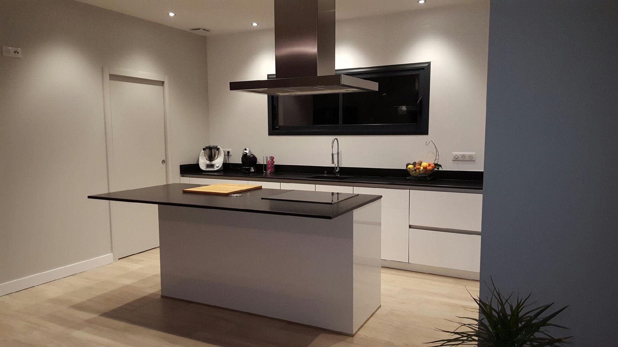 cuisine contemporaine blanche avec mur d'armoire sans poignée