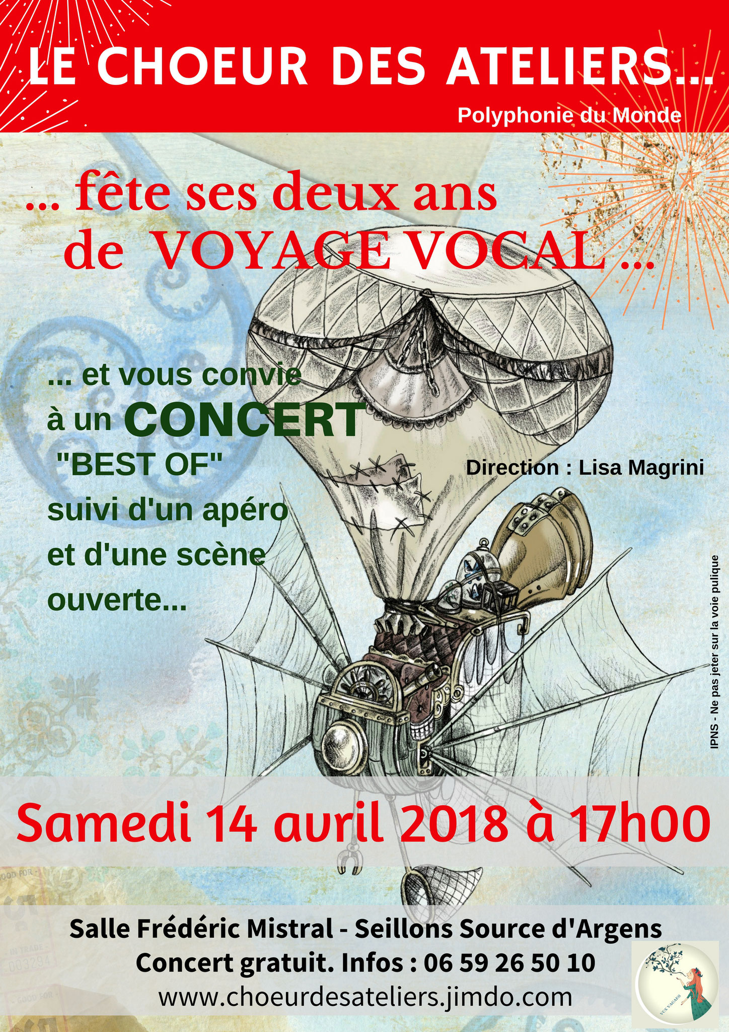 concert anniversaire, les deux ans du choeur des ateliers, polyphonies du monde