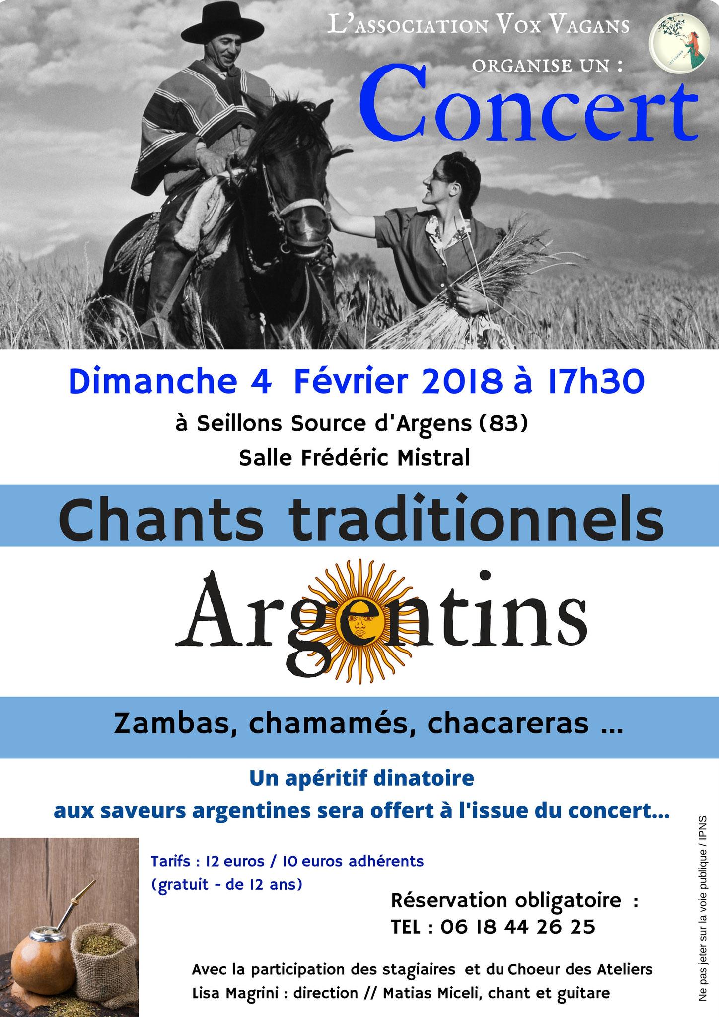 concert de chants argentins