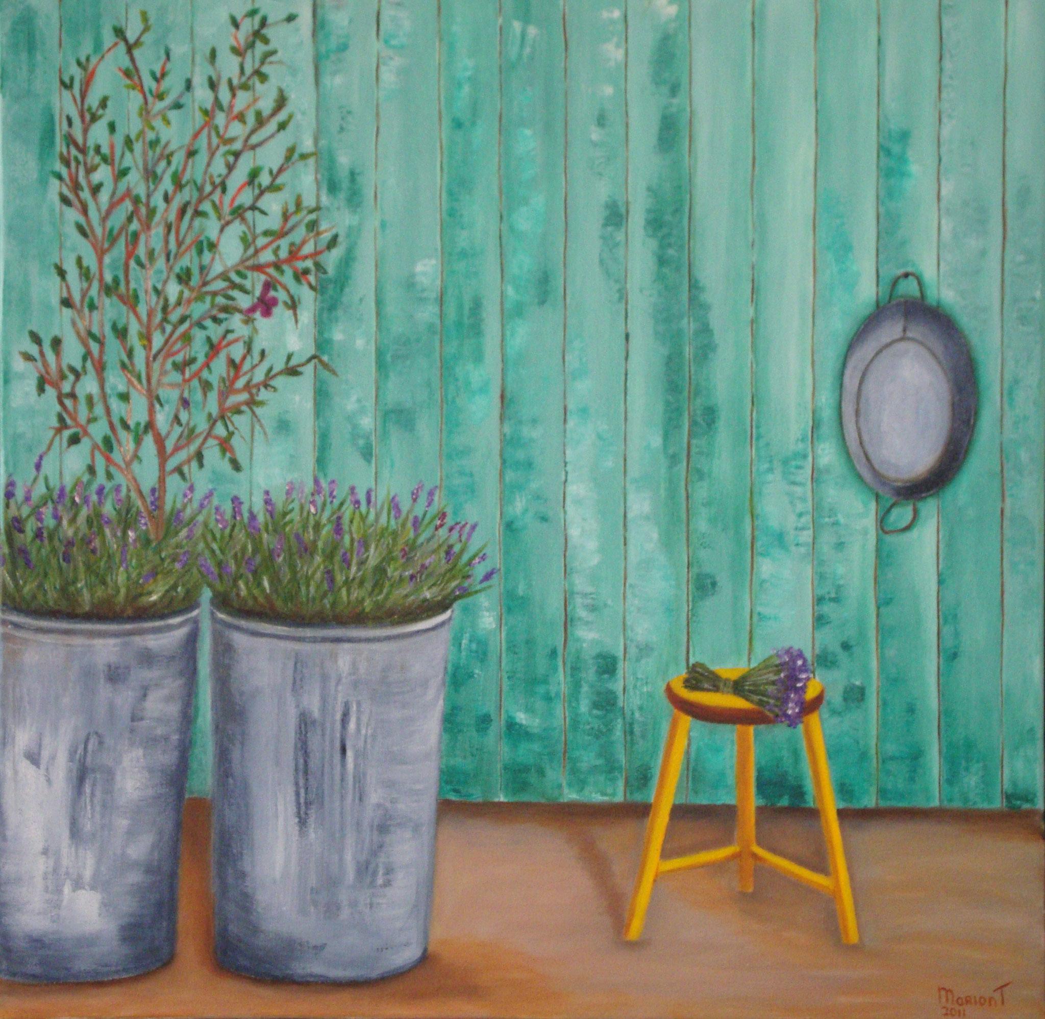 Lavendel in vuilnisemmers 50 x 50