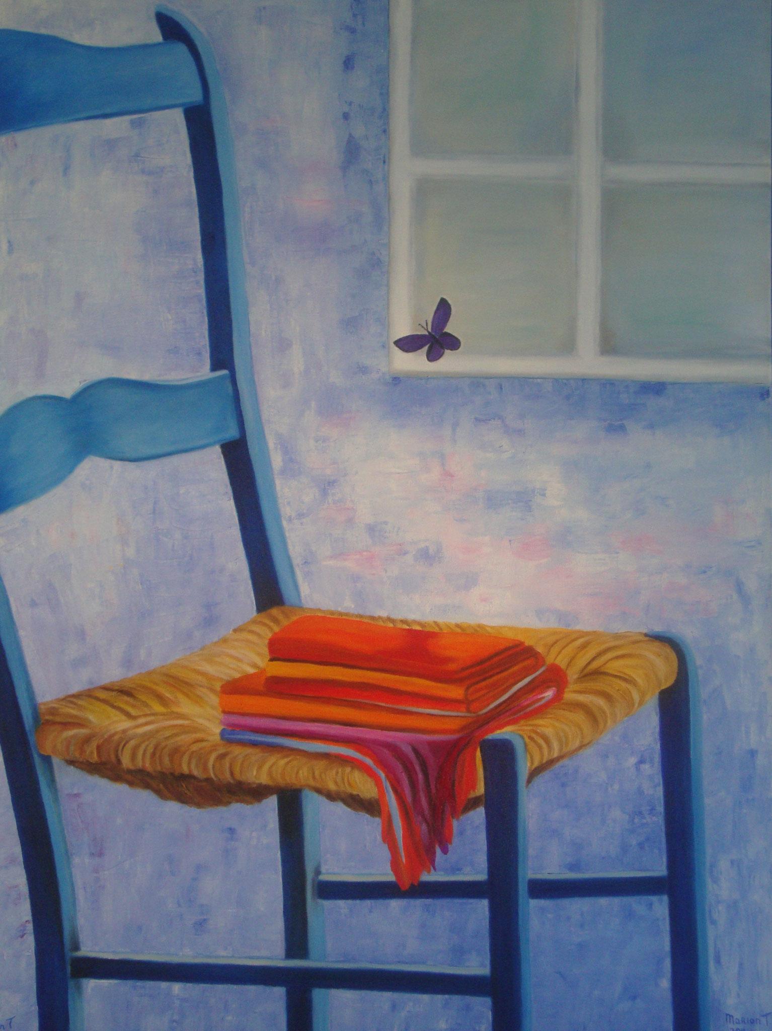 Blauwe stoel 80 x 70 br
