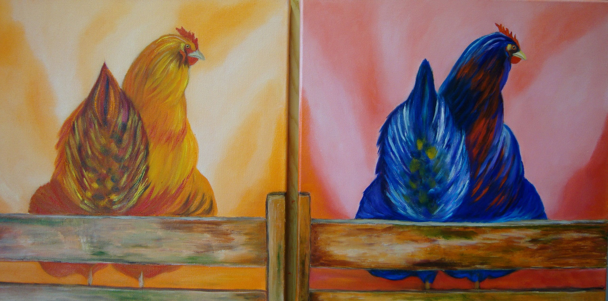 Kippen tweeluik (verkocht)