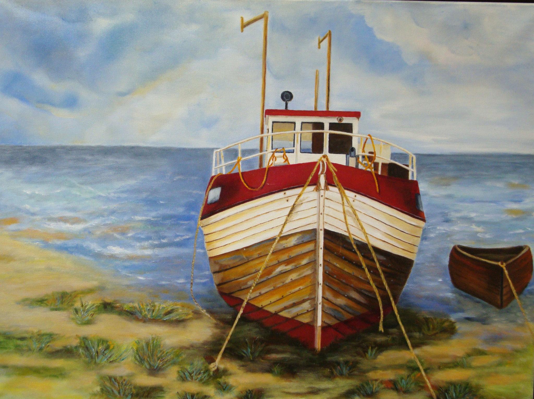 Boot op de kant met roeiboot 80 x 60 br