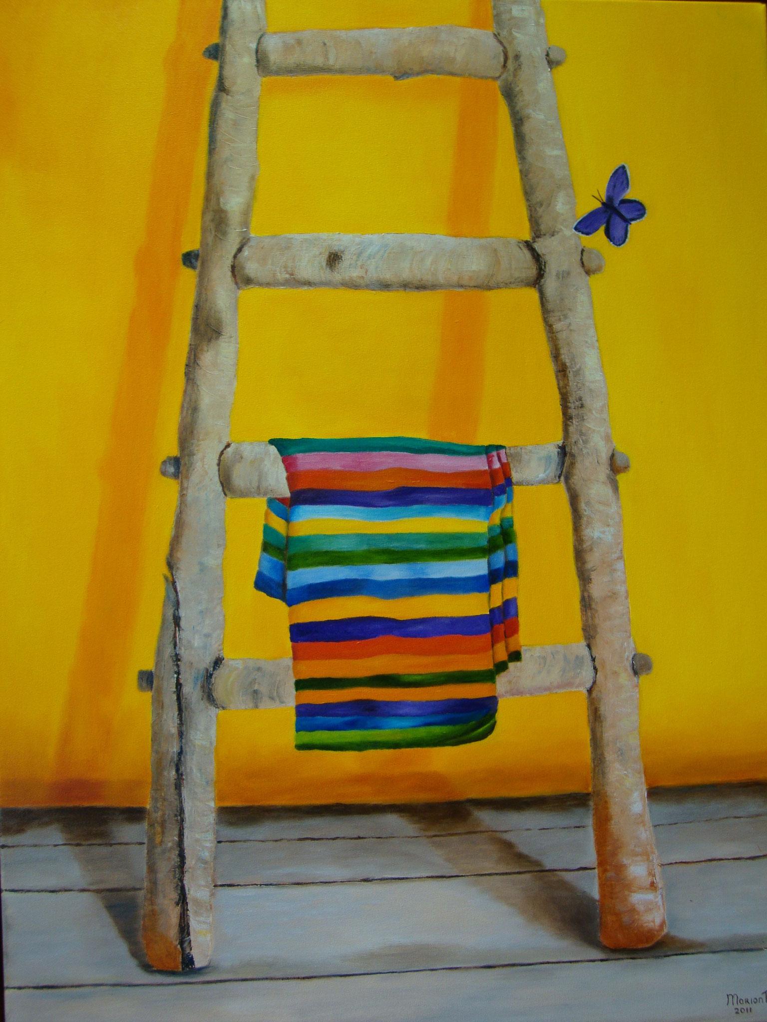 Ladder met handdoek 80 x 60 br