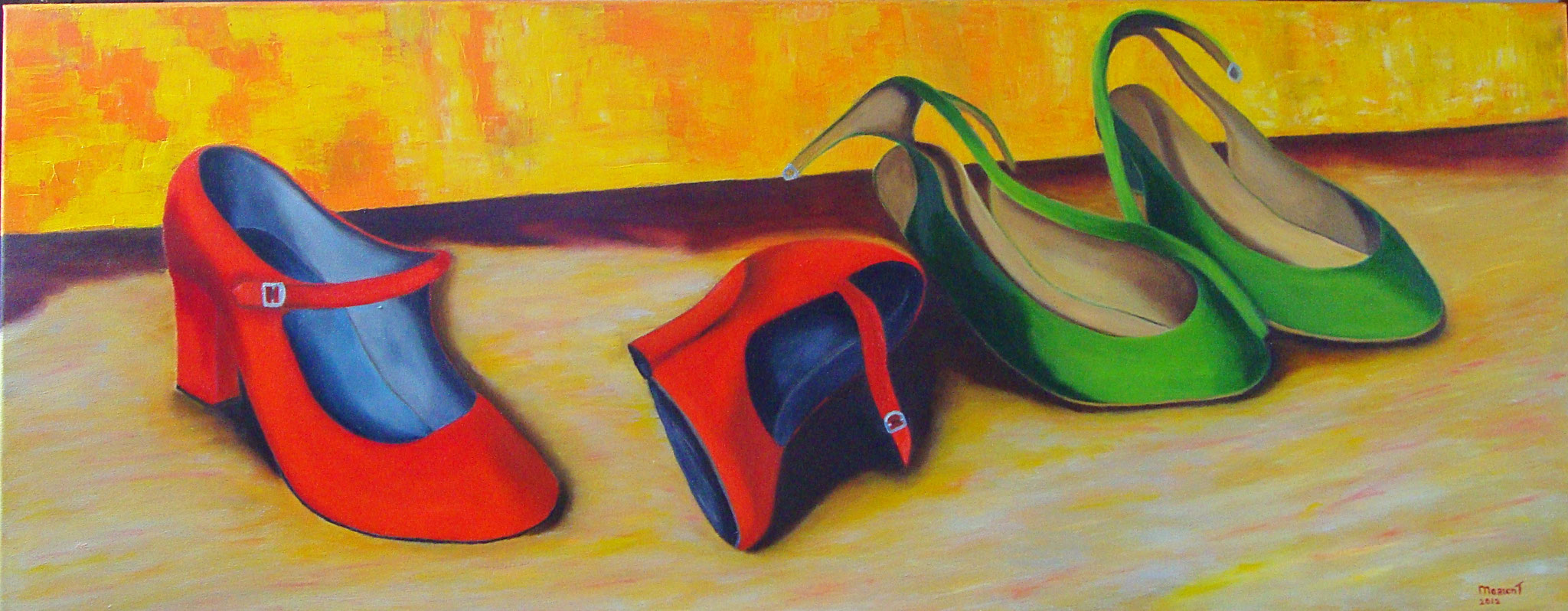 Schoentjes rood/groen 40 x 80 br