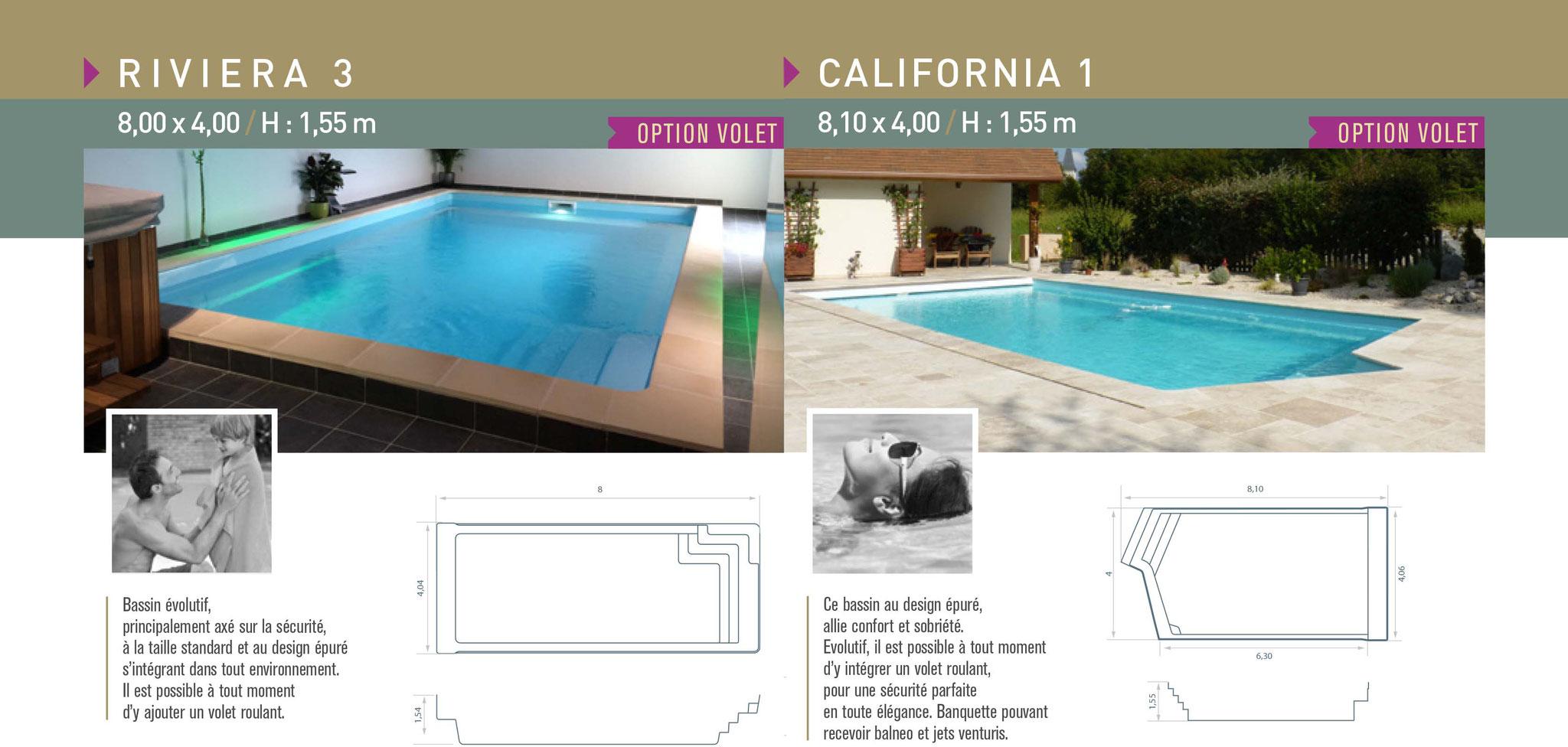 Nos best sellers de bassins en fond plat : piscines IBIZA Riviera 3 et California 1