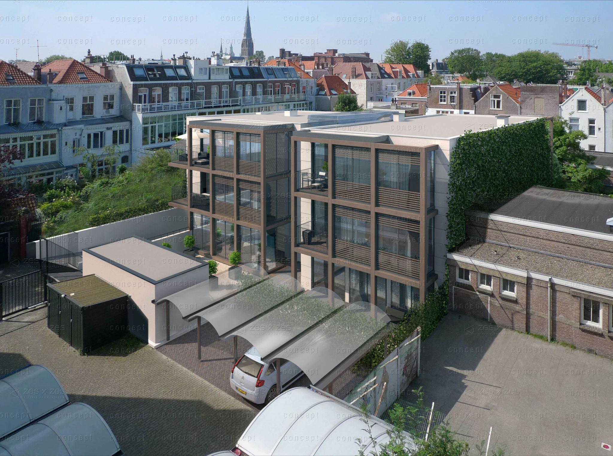 """Nieuwbouw van een parkeerkelder en 6 luxe appartementen """"Woonlindes"""" aan de Frederikstraat te Den Haag. Werkzaamheden: Bouwkundig tekenwerk en vergunningen. Opdrachtgever: Gemini Development"""
