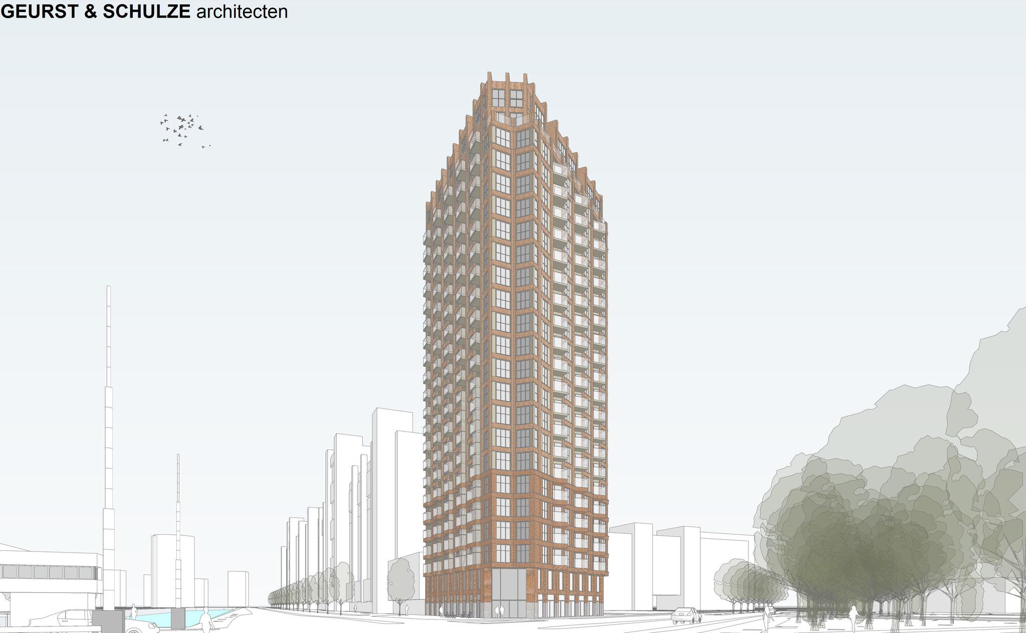 Nieuwbouw woontoren op de hoek van de Slachthuislaan en de Netherkade.Werkzaamheden: kostenbewaking en projectmanagement.