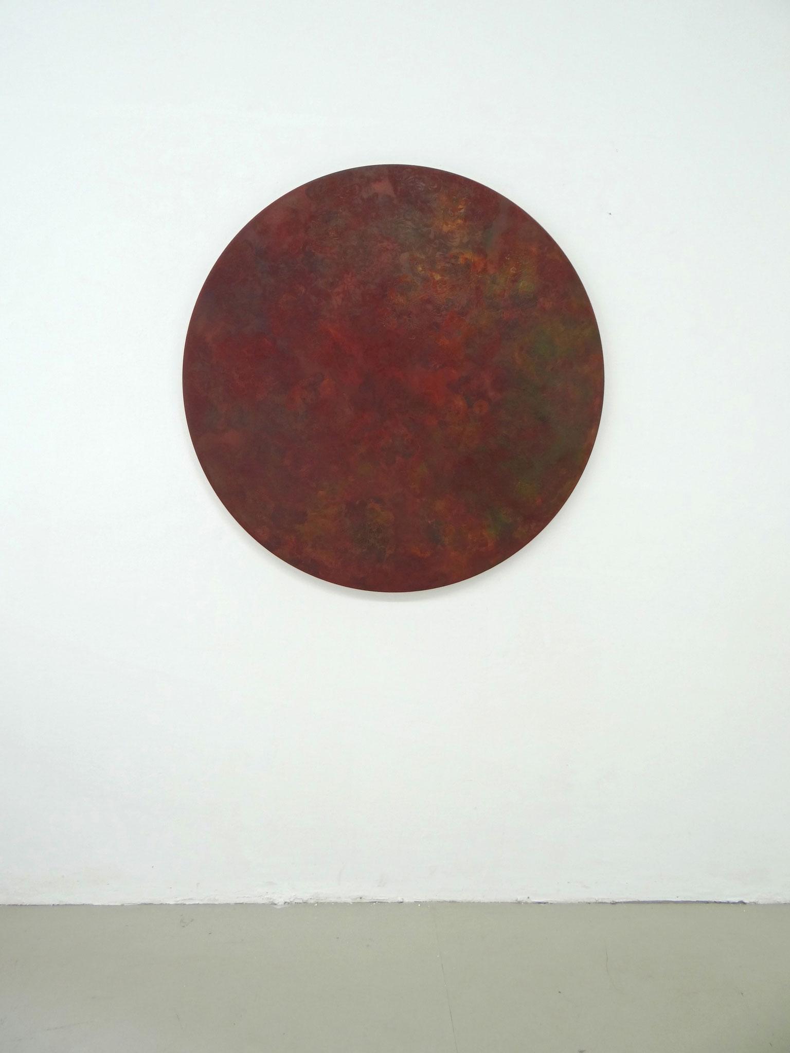 """""""Terra"""" 2011, Öl und Siebdruck auf Leinwand, 110 x 110 cm cm, Sammlung Hans Tepe (Berlin), Ausstellungsansicht: """"Burn"""", 2012, Künstlerhaus Sootbörn, Hamburg"""