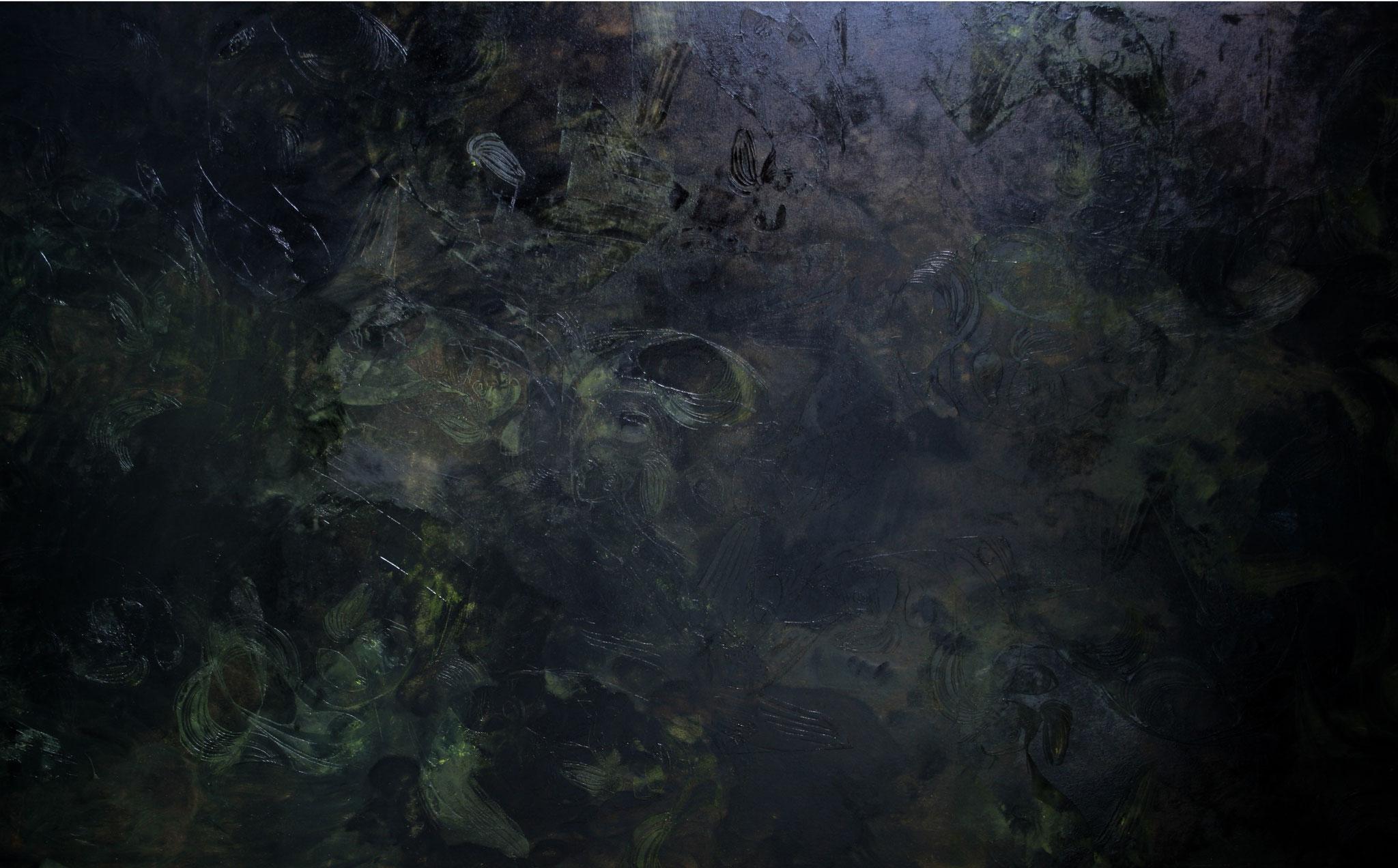 "(links)""Moornacht"", 2009, 300 m x 160 cm, Öl auf Leinwand Privatbesitz (Vechta),"