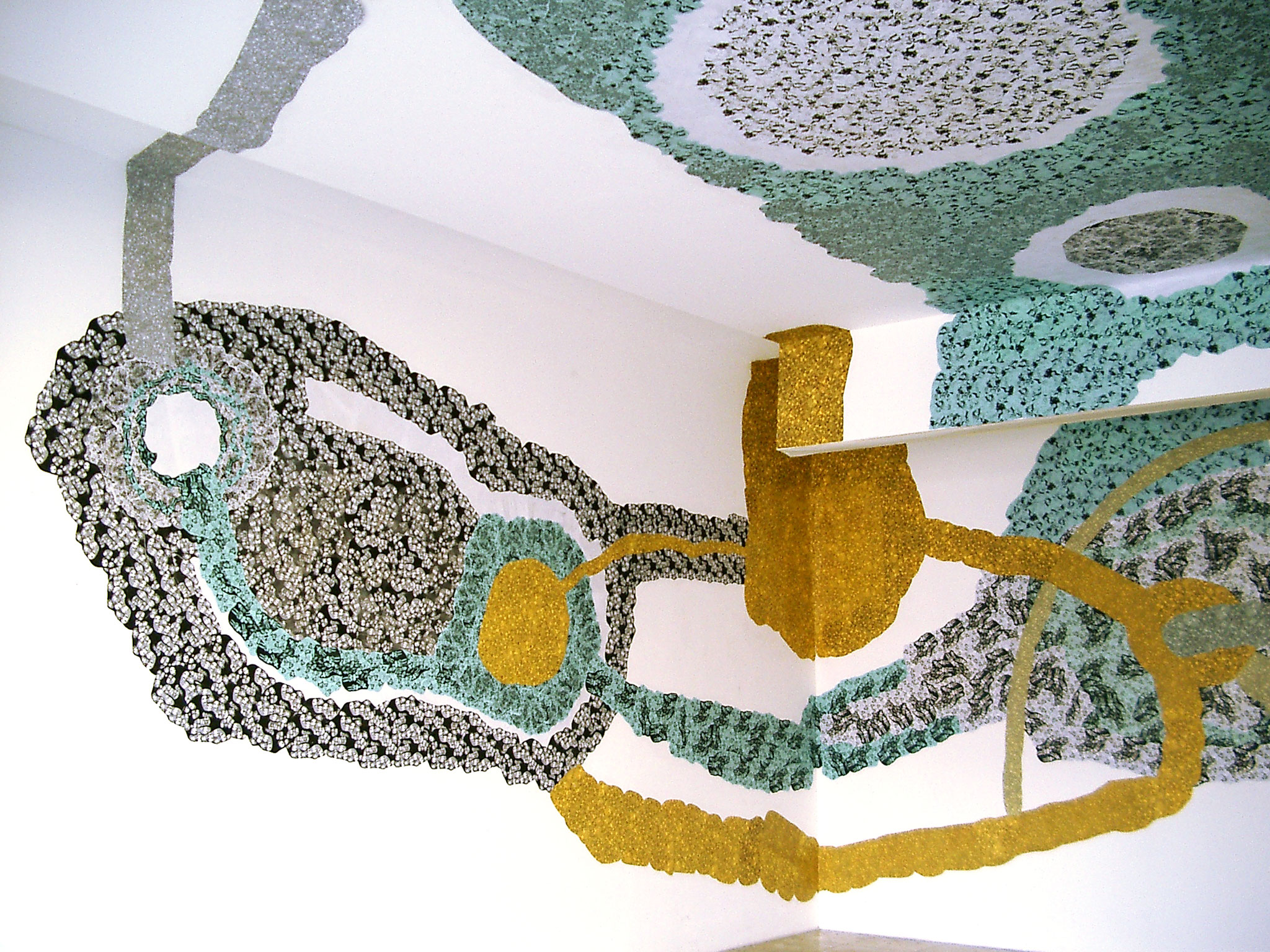 """""""Space"""", 2007, Raumcollage mit duplizierten Handzeichnungen, Galerie Hans Tepe, Damme"""