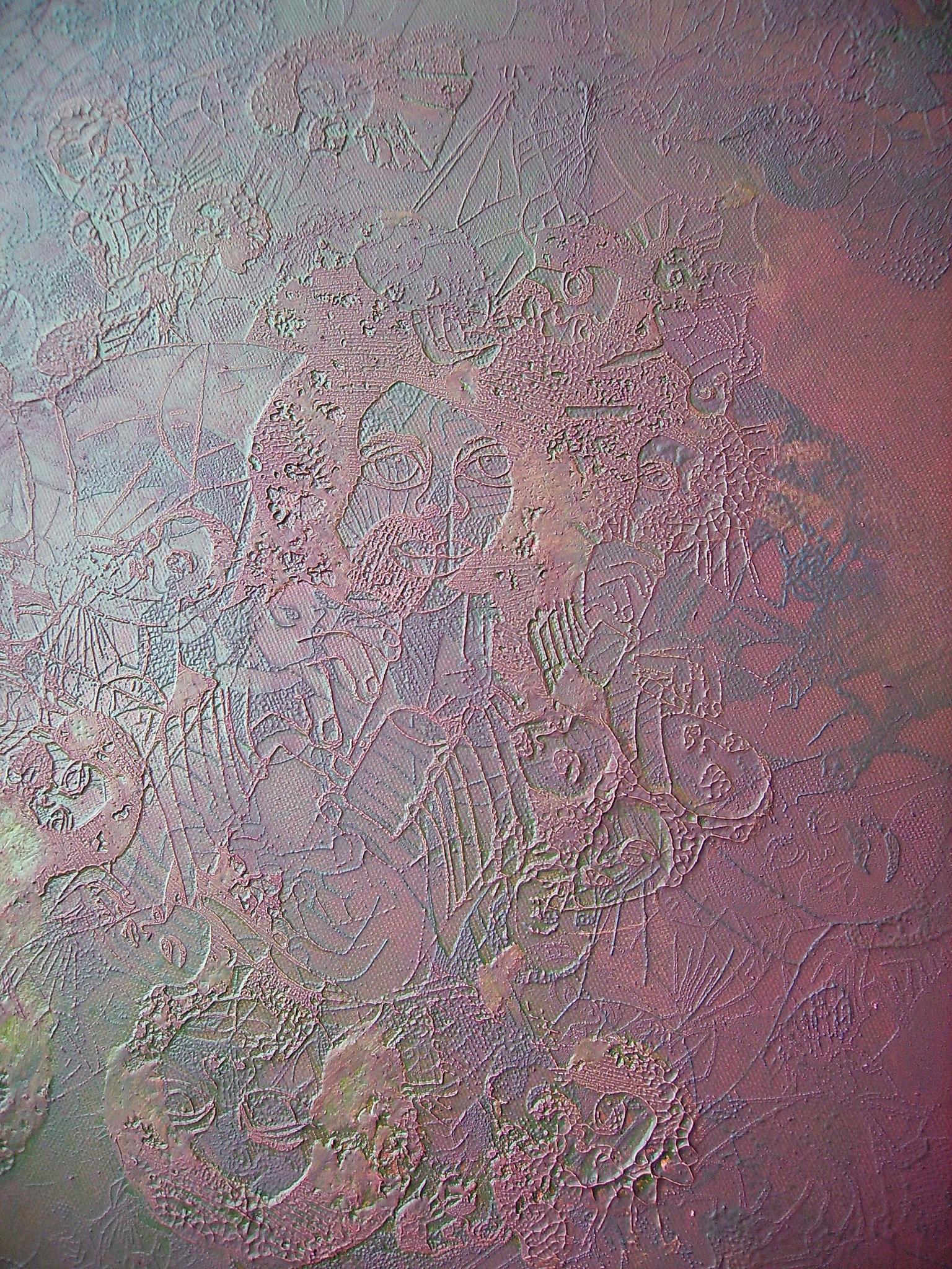 """""""Terra"""" 2011, Detail, Öl und Siebdruck auf Leinwand, 110 x 110 cm cm, Sammlung Hans Tepe (Berlin),"""