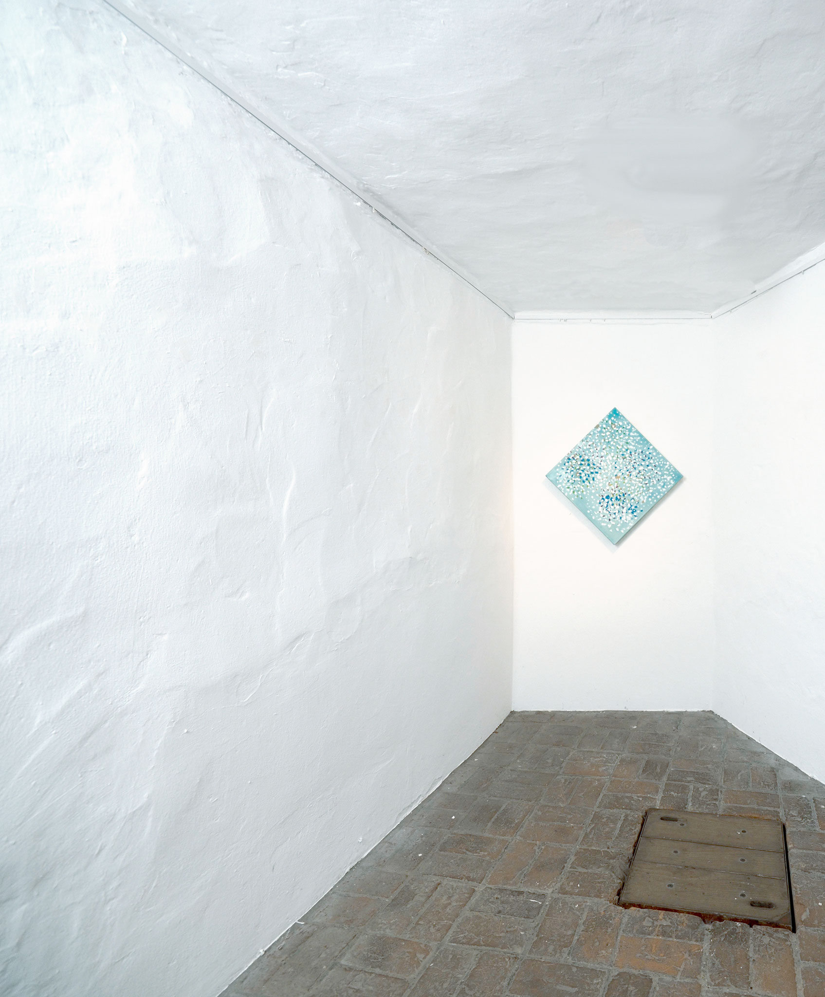 """Message Personnel (Francoise Hardy)"", 2016, 50 x 50 cm, Öl auf Leinwand Foto: Ralf Timm Ausstellung ""Lost Places"", Kunstverein Kaponier Vechta, 2016"