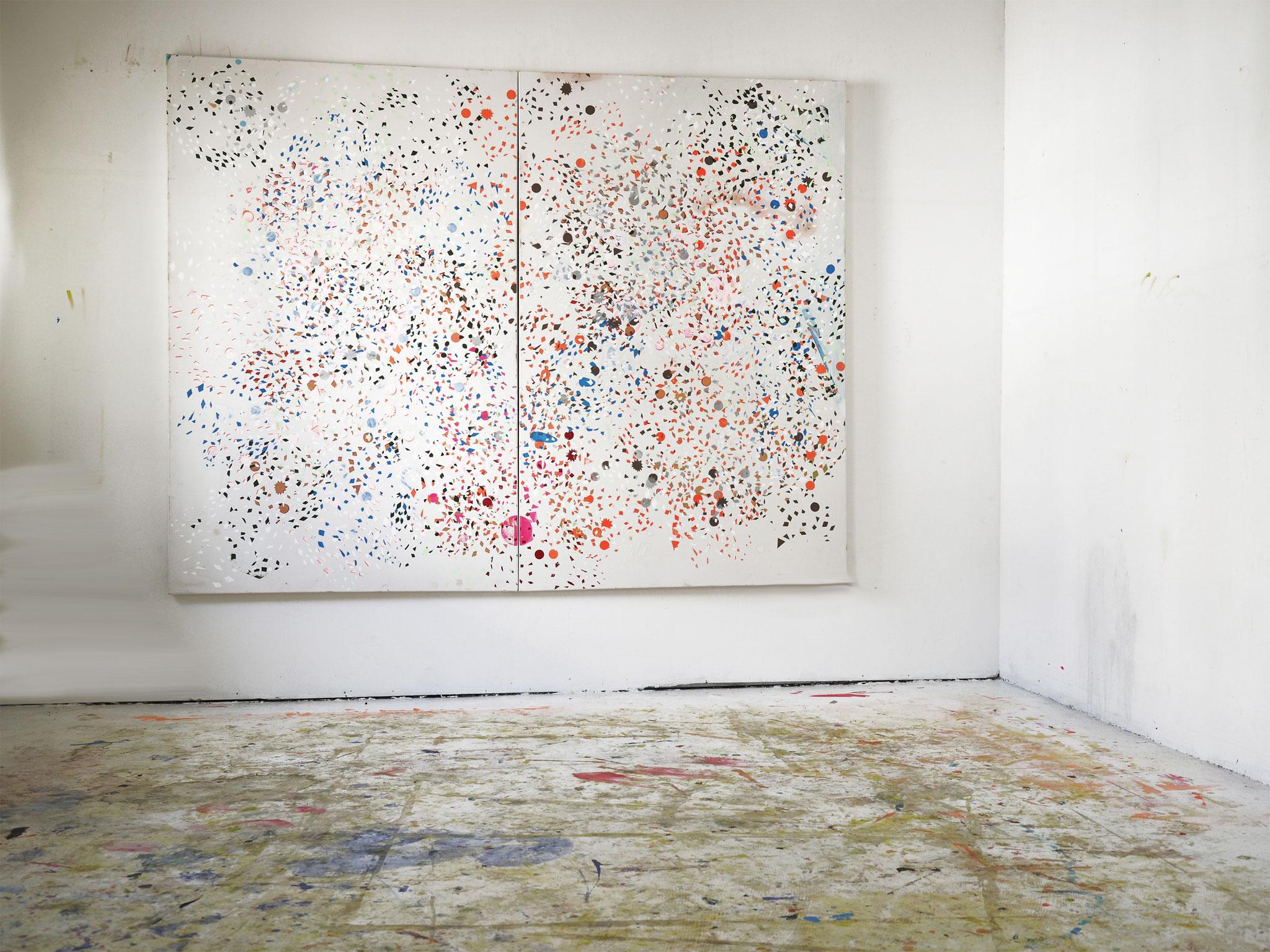 """Lazarus (Dawid Bowie), 2 x 110 x 1m, Acryl auf Leinwand, Atelieransicht, Foto: Ralf Timm,"