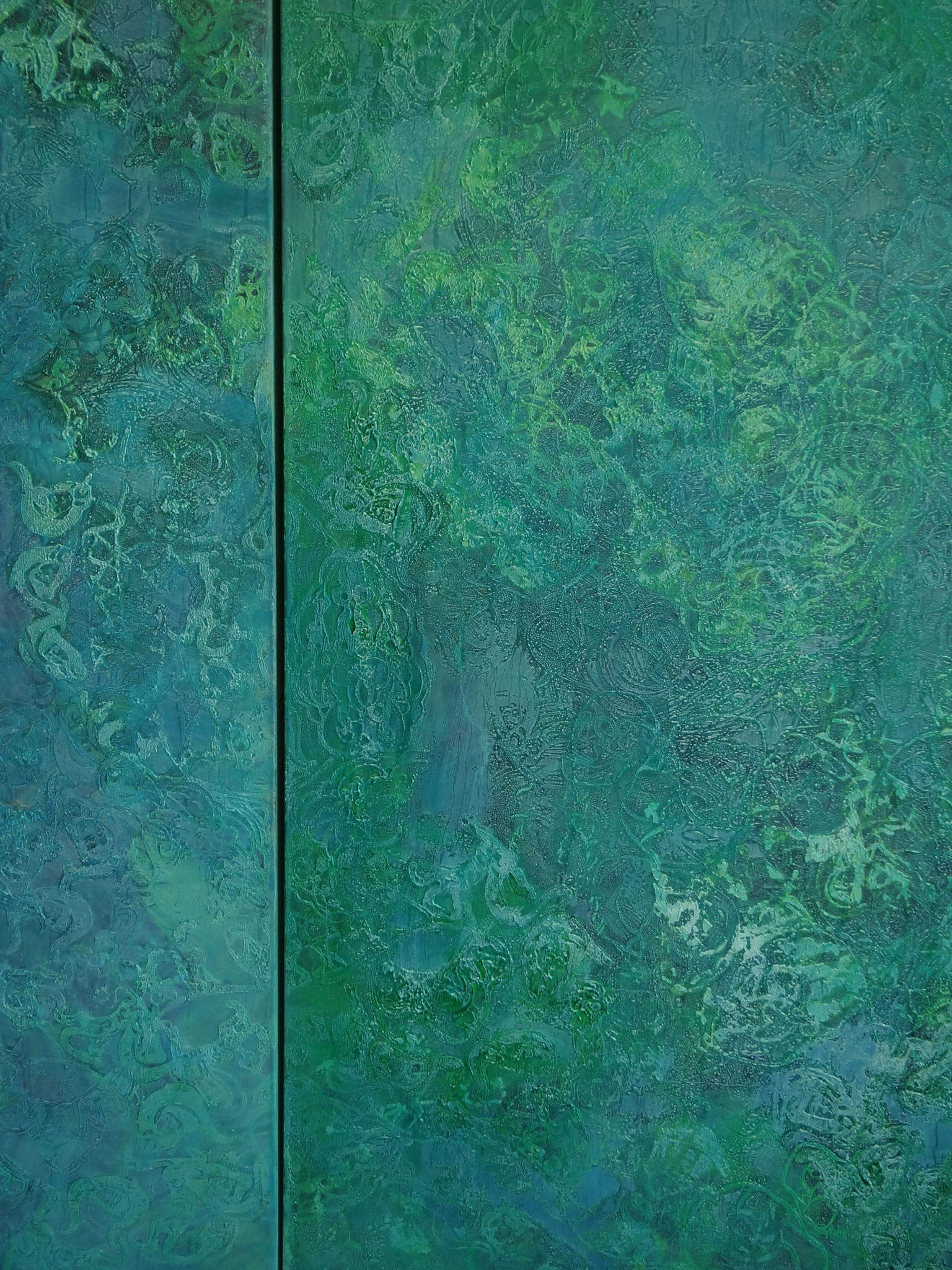 """""""Tomorrowland"""", 2012, Detail, 2 x 100 x 200 cm, Öl und Siebdruck auf Leinwand (Privatbesitz Damme)"""